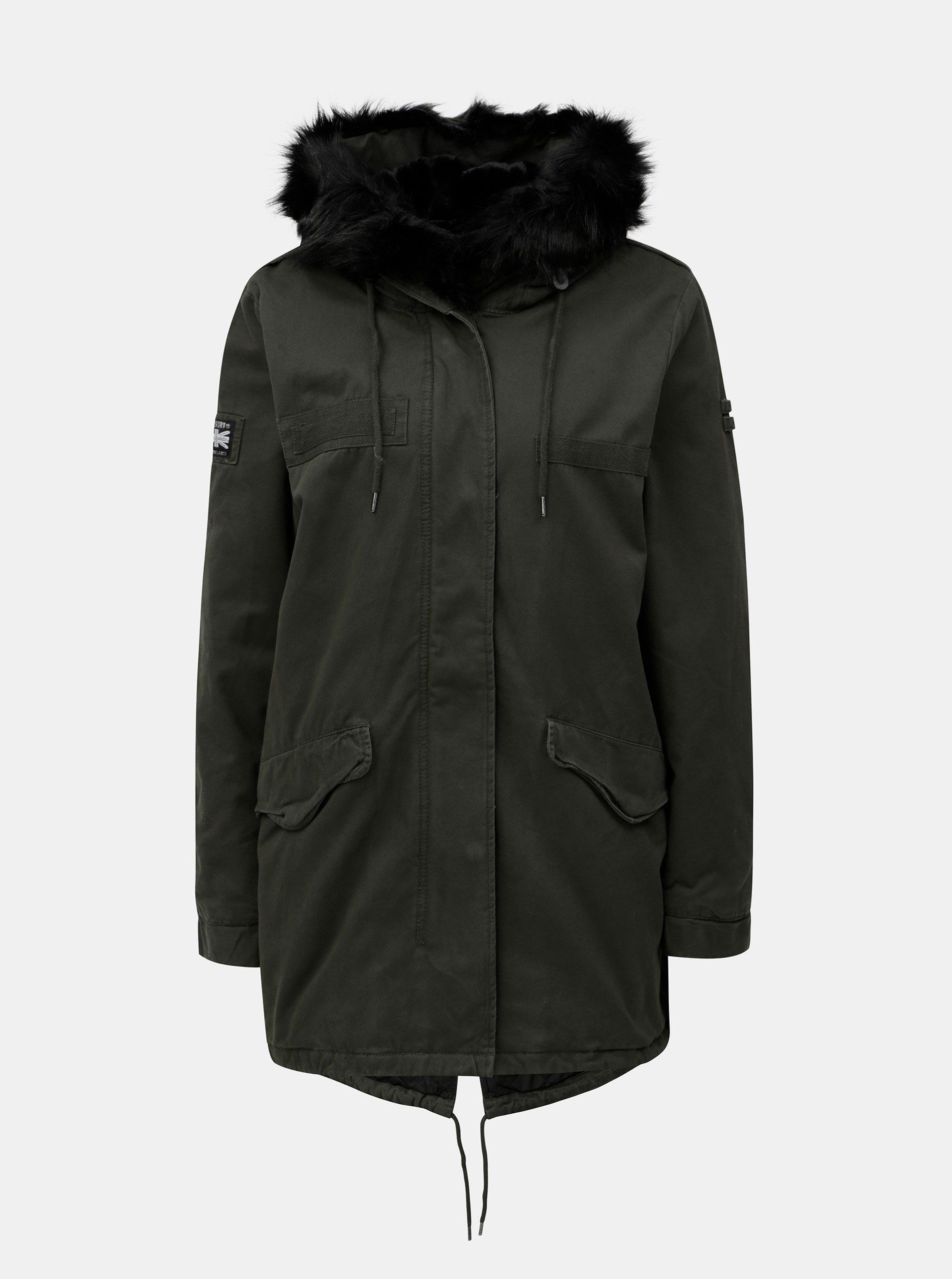 Fotografie Khaki dámská parka s kapucí a umělým kožíškem Superdry