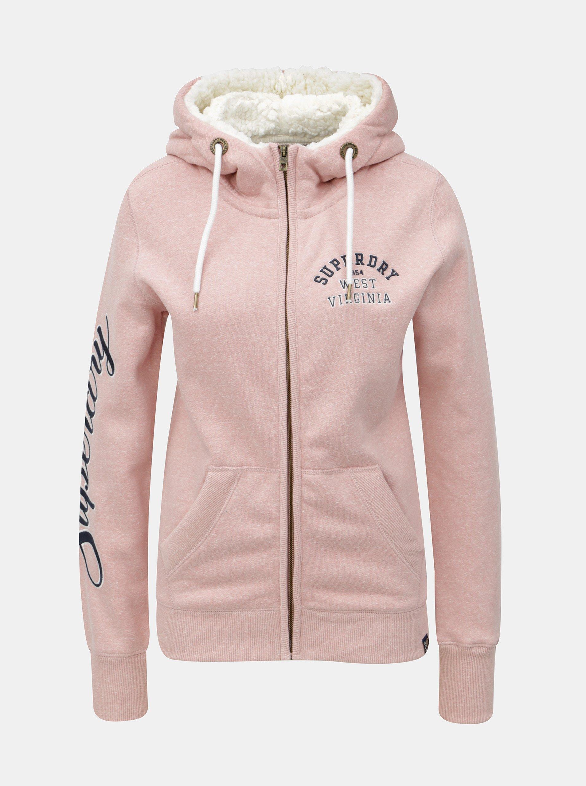 5a400ce4483 Růžová dámská mikina s kapucí a umělým kožíškem Superdry