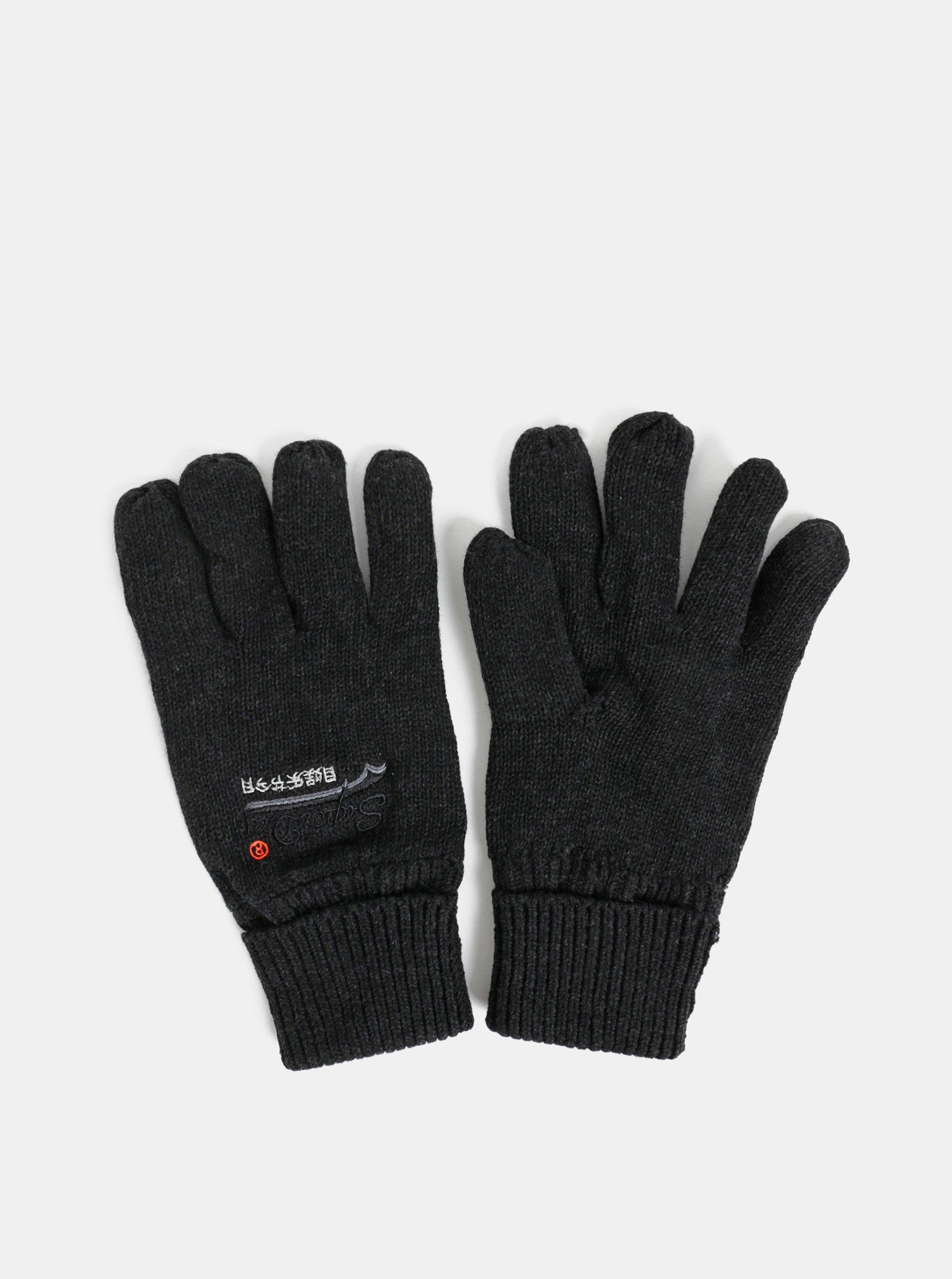 Tmavosivé pánske rukavice Superdry