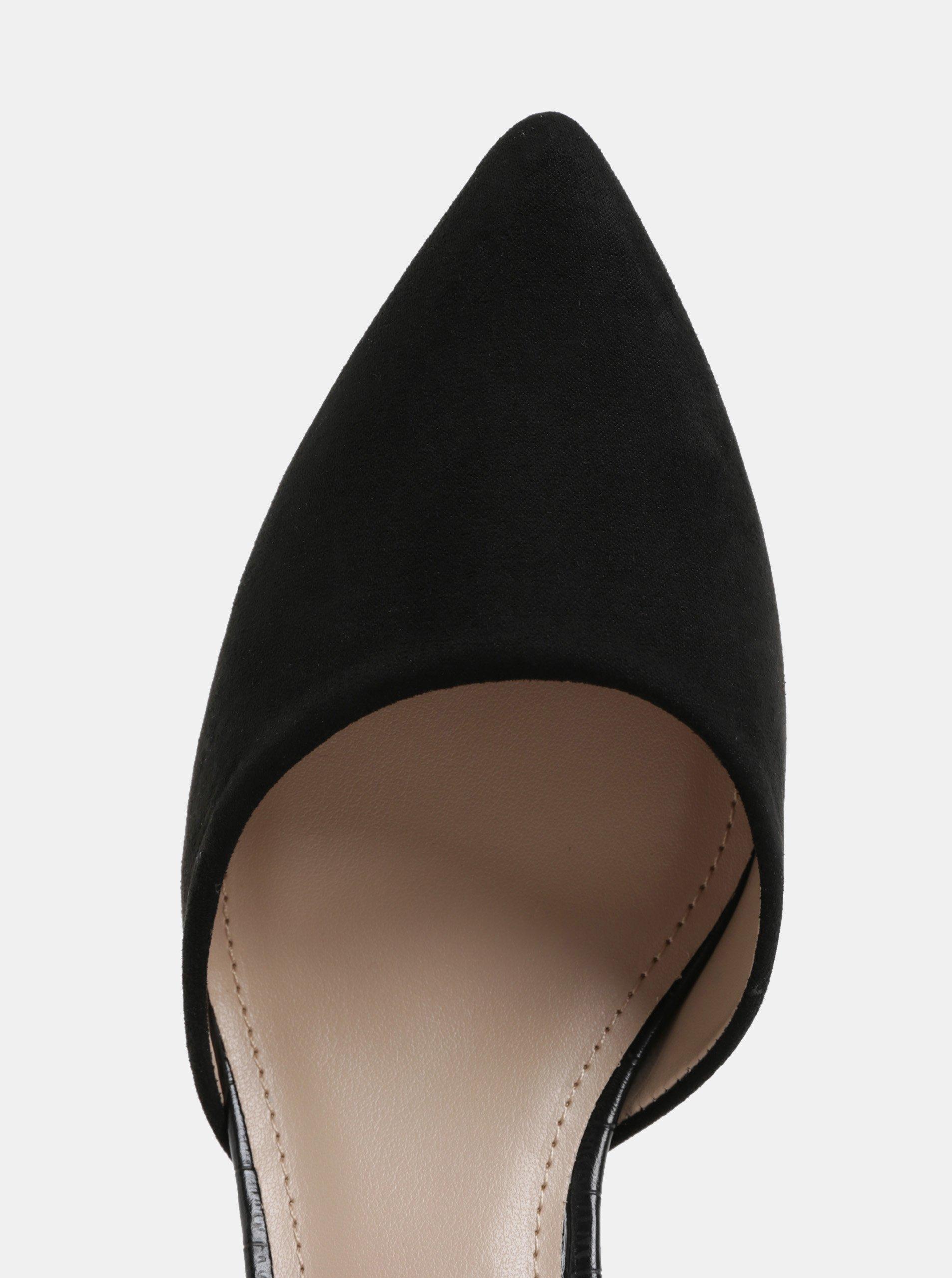 Černé vzorované lodičky s detaily v semišové úpravě Dorothy Perkins