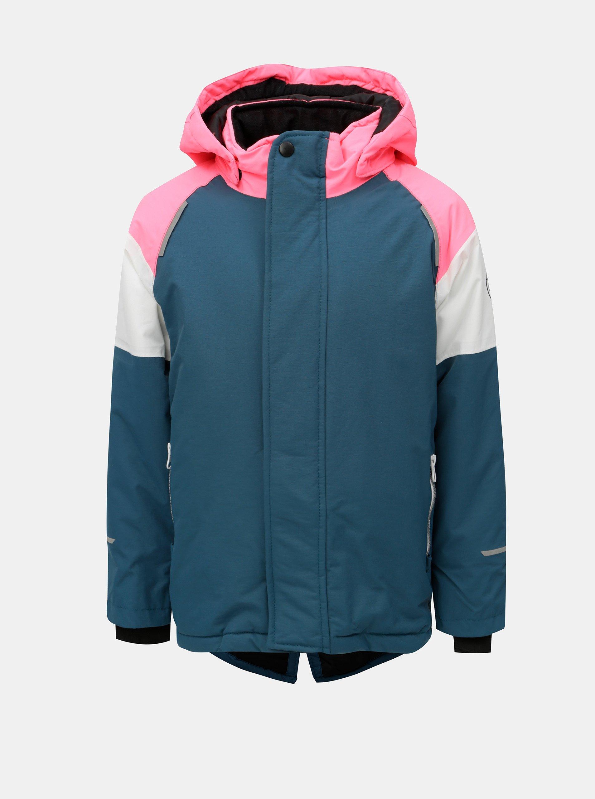 Ružovo–petrolejová dievčenská zimná funkčná bunda s kapucňou Name it Snow