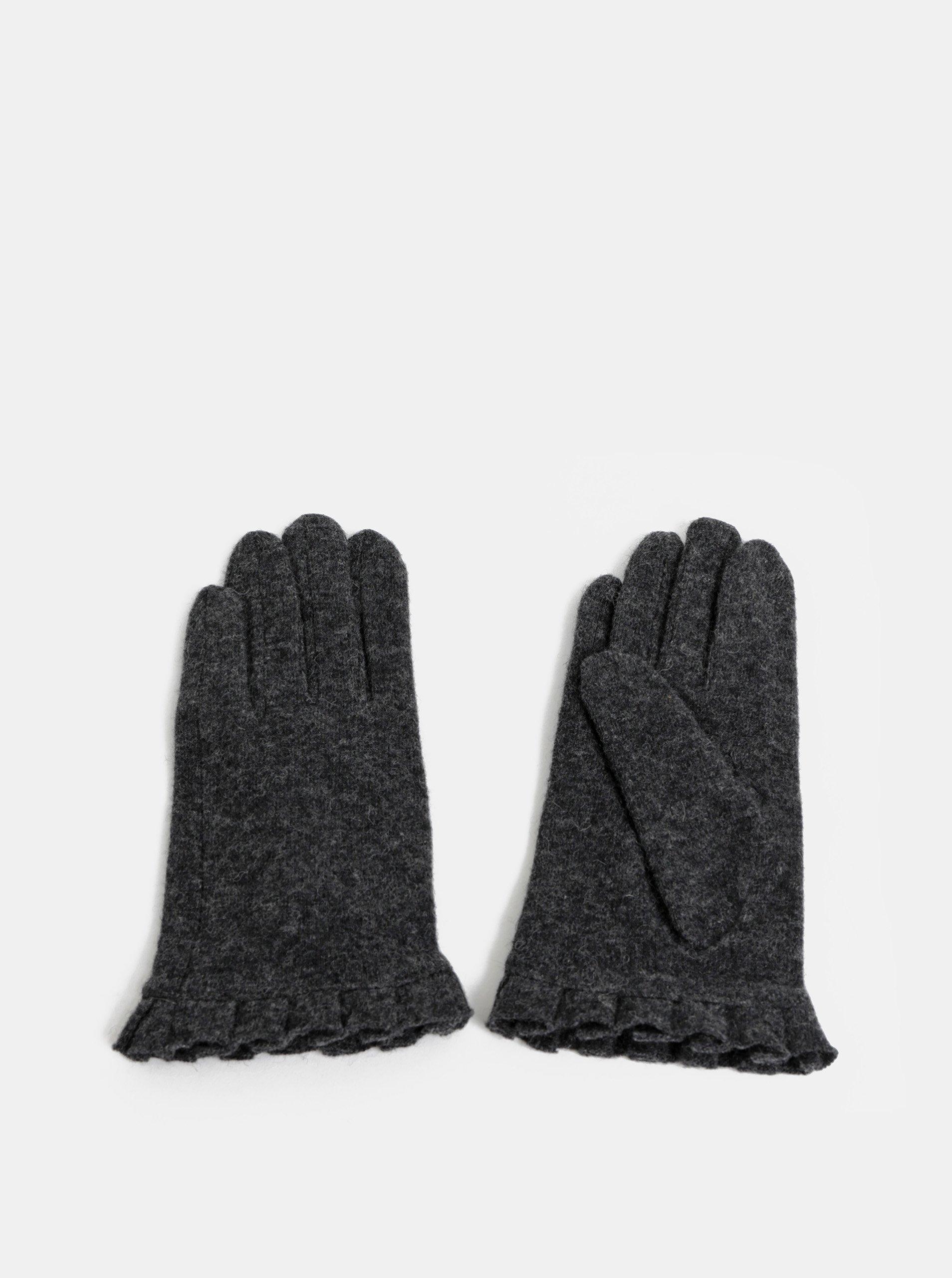 Sivé rukavice s prímesou vlny a volánom Pieces Fulva