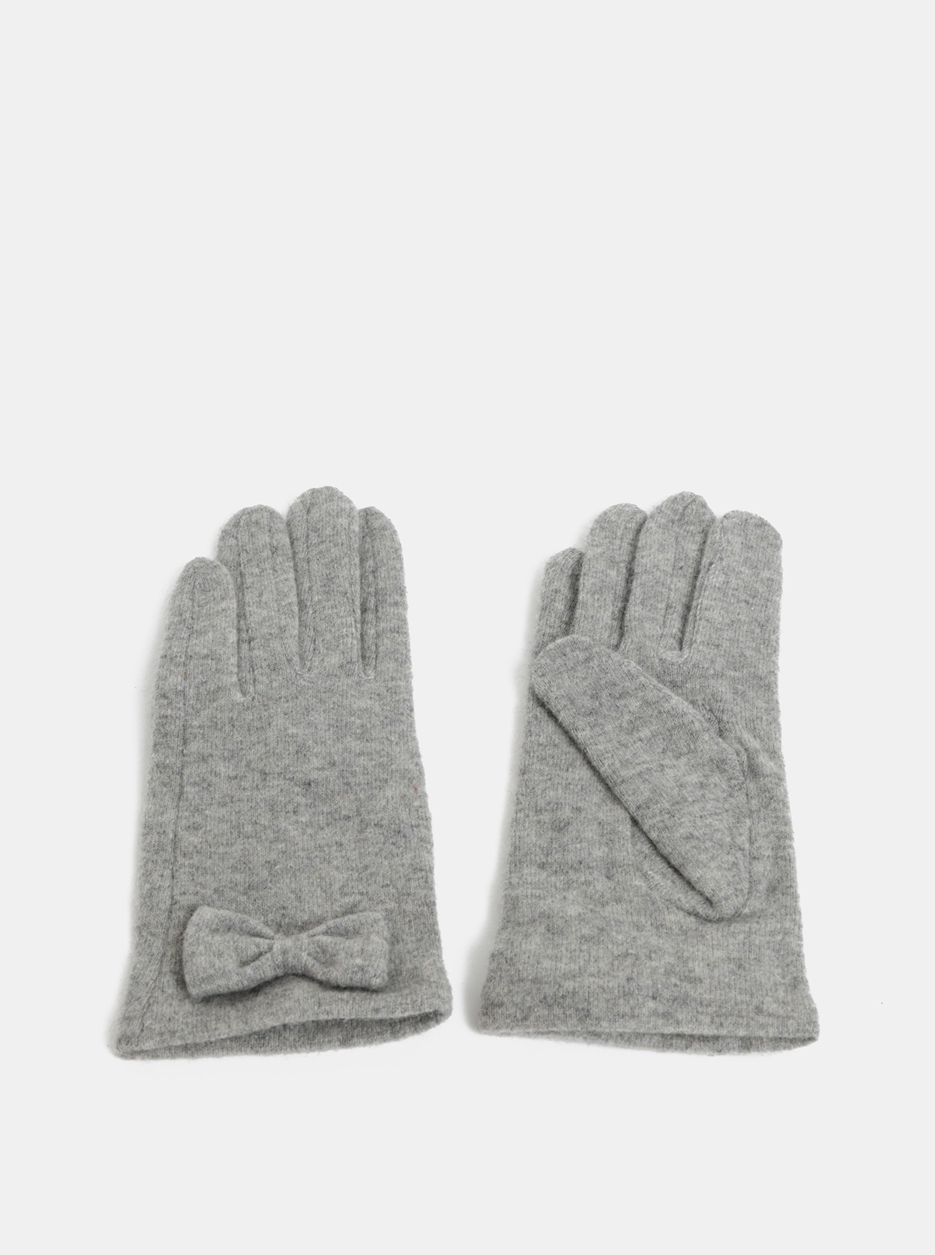 Sivé rukavice s prímesou vlny a s mašličkou Pieces Fulva