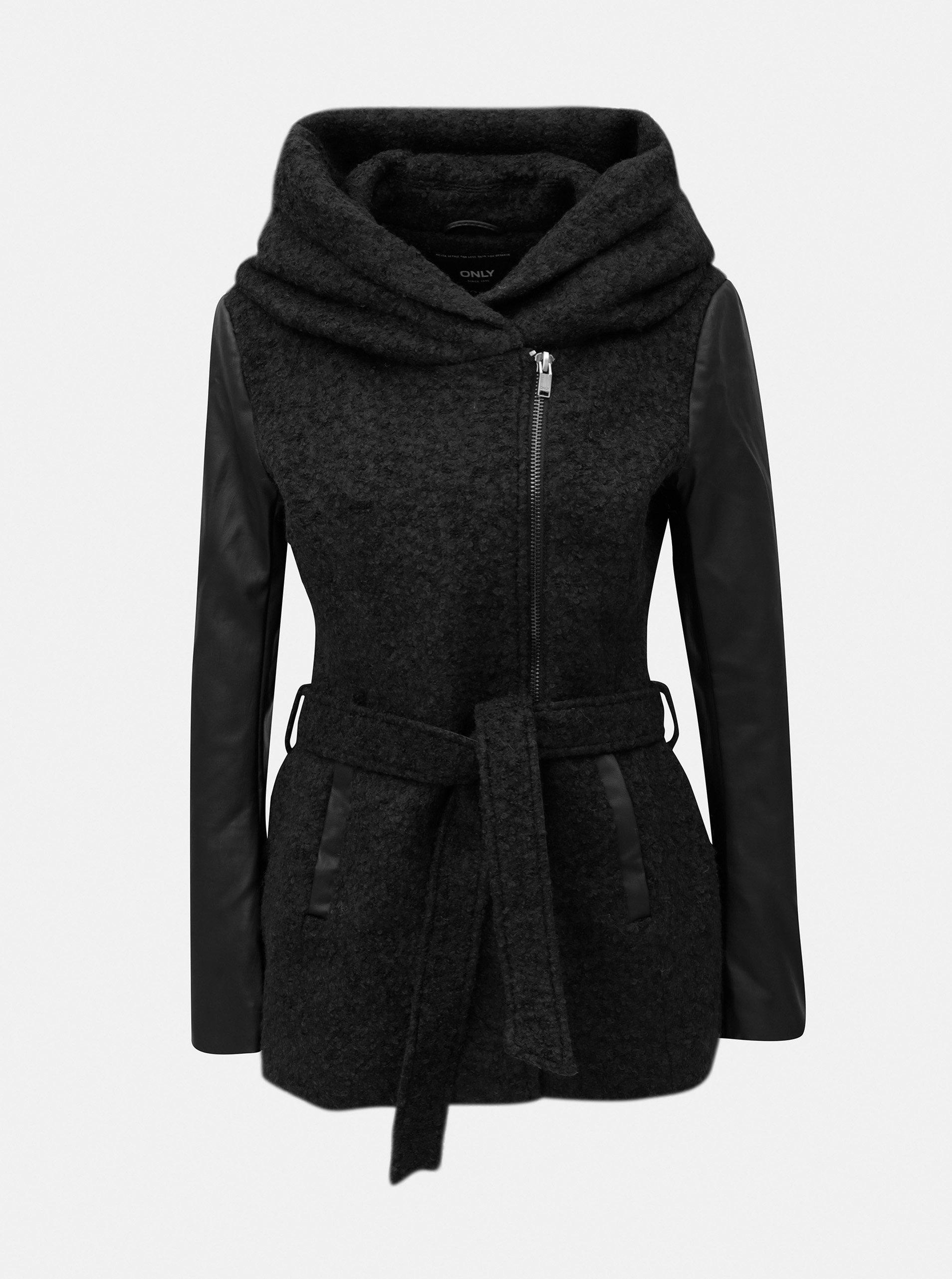 Čierny melírovaný kabát s prímesou vlny ONLY Lisford