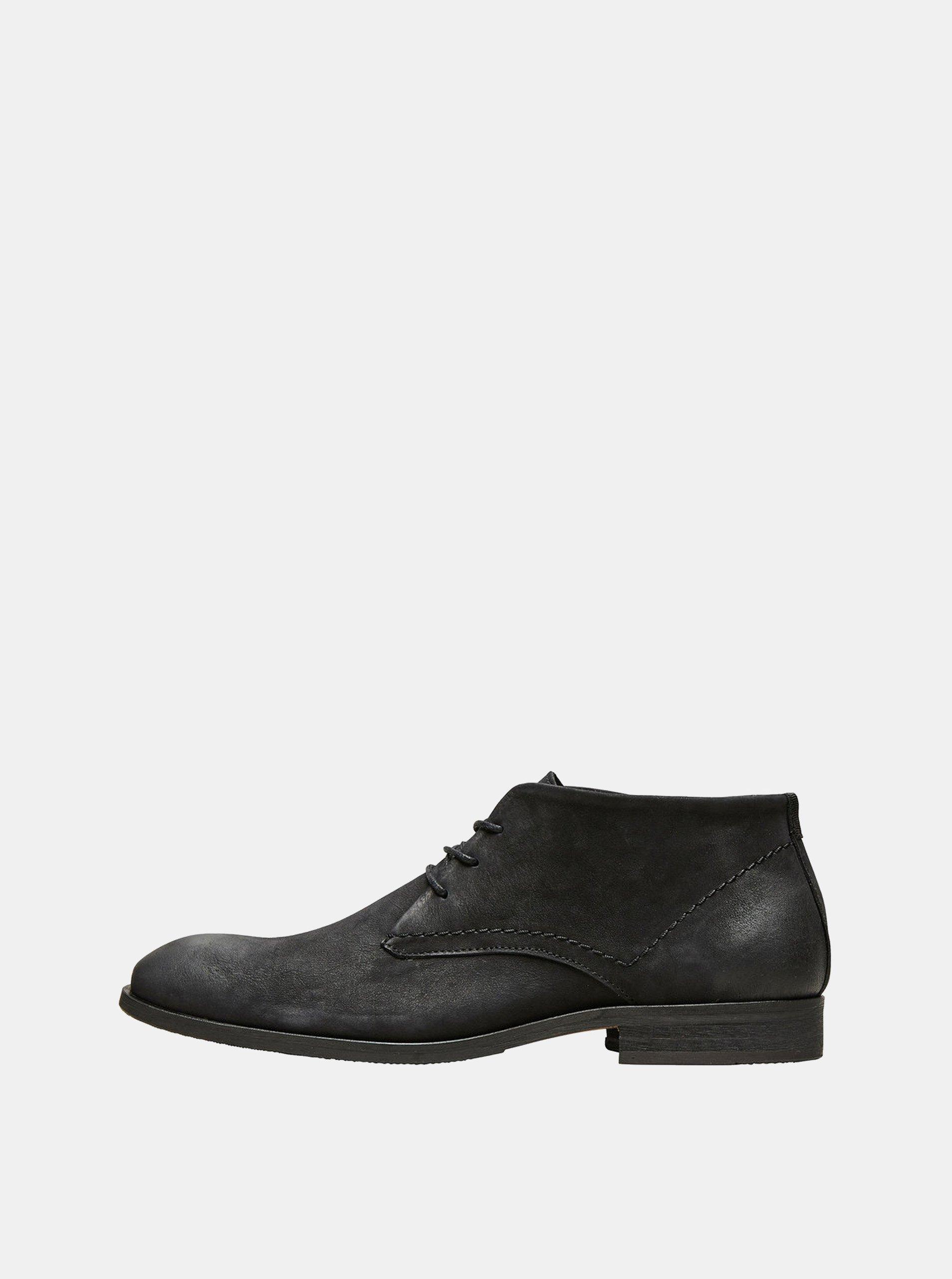 Černé pánské kožené kotníkové boty Selected Homme Colin