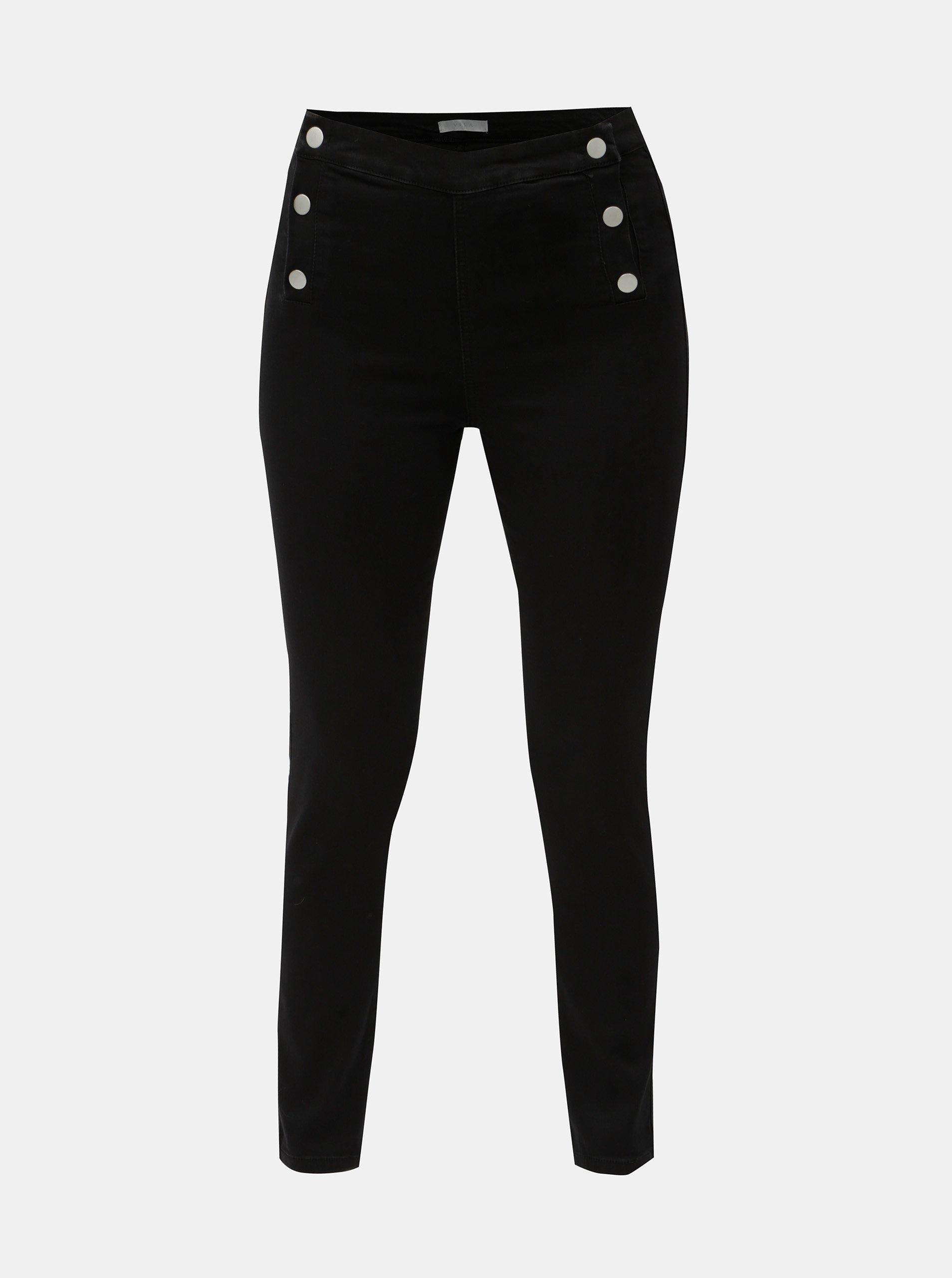 Černé slim fit džíny s patentkami VILA