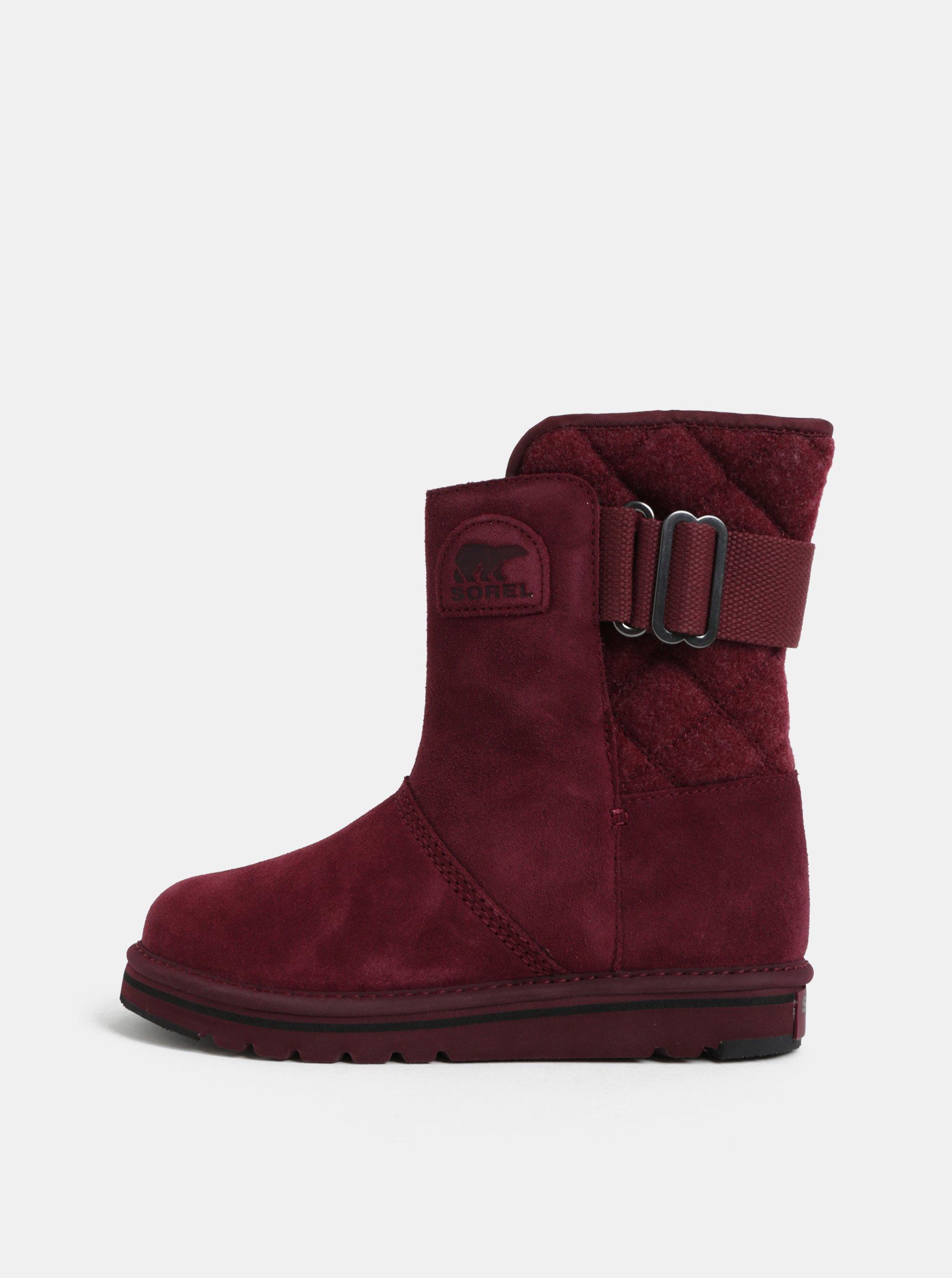 Vínové dámske semišové zimné topánky SOREL Newbie