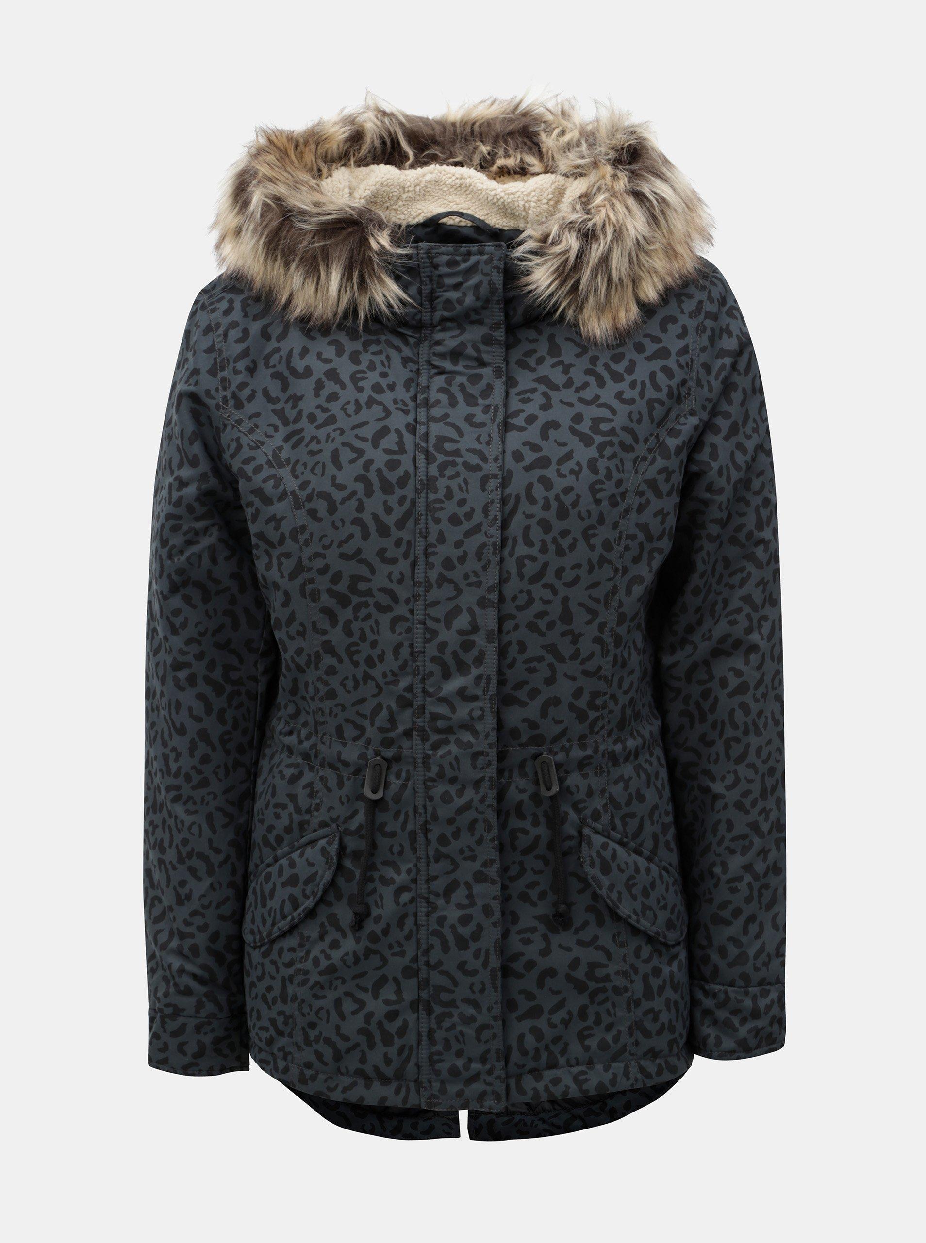 Tmavě šedá zimní parka s leopardím vzorem a umělým kožíškem ONLY Ruby