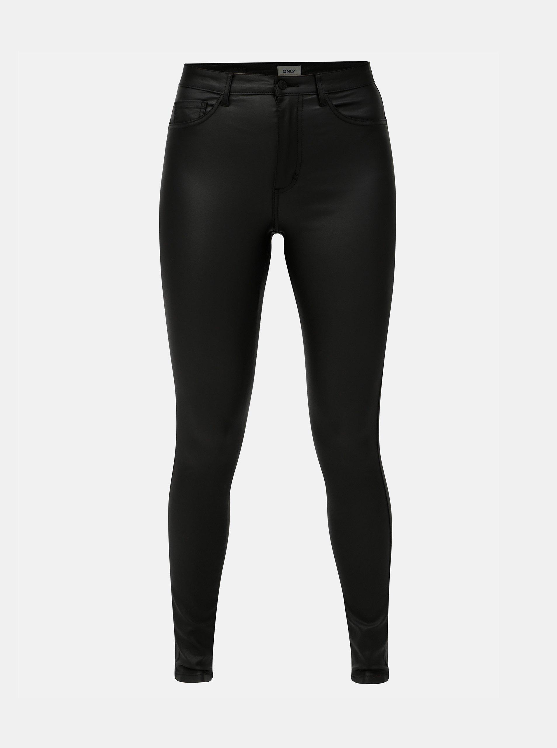 3808766a456 Černé lesklé skinny kalhoty ONLY