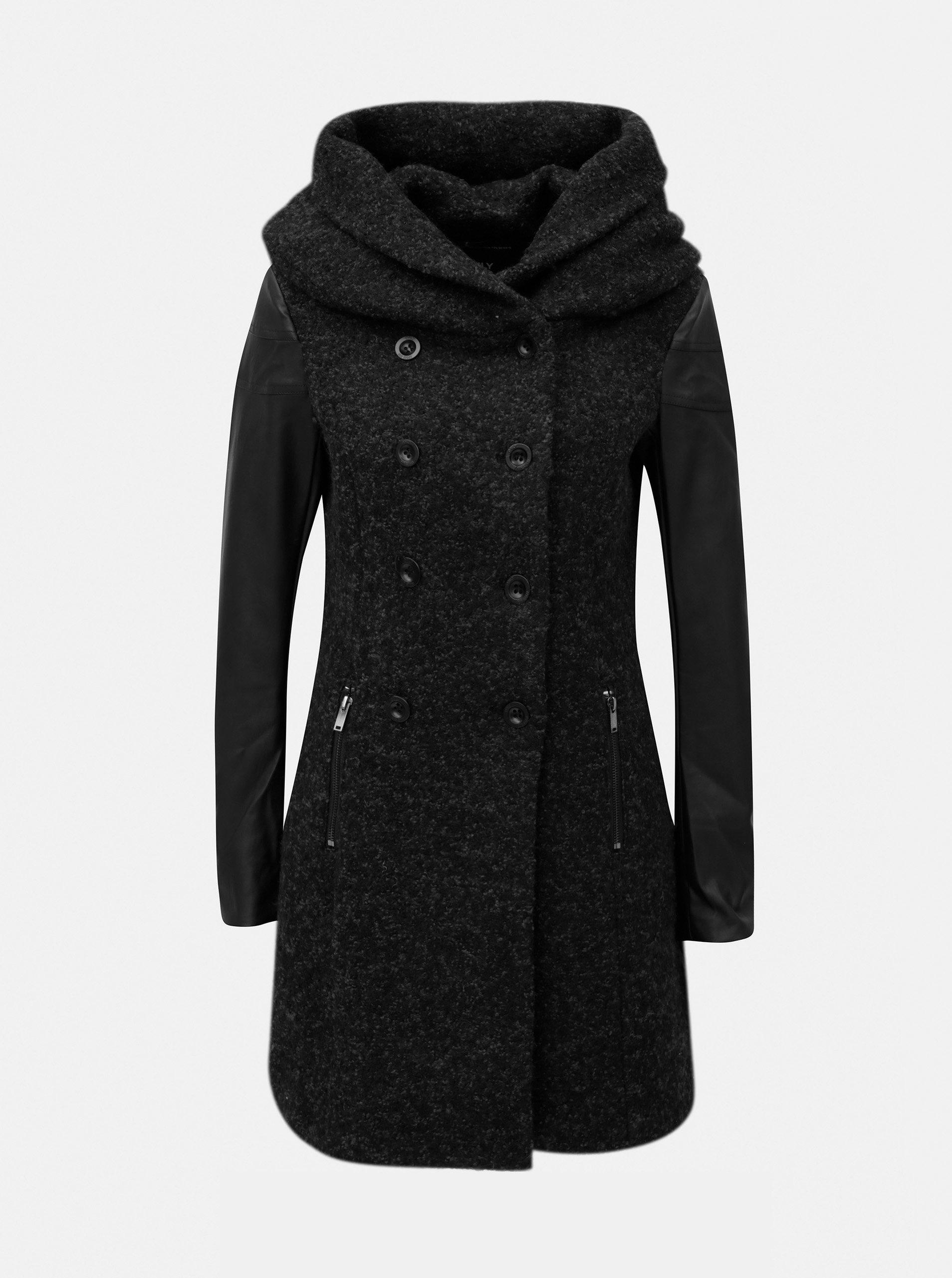 Čierny melírovaný kabát s prímesou vlny a opaskom ONLY Lisa