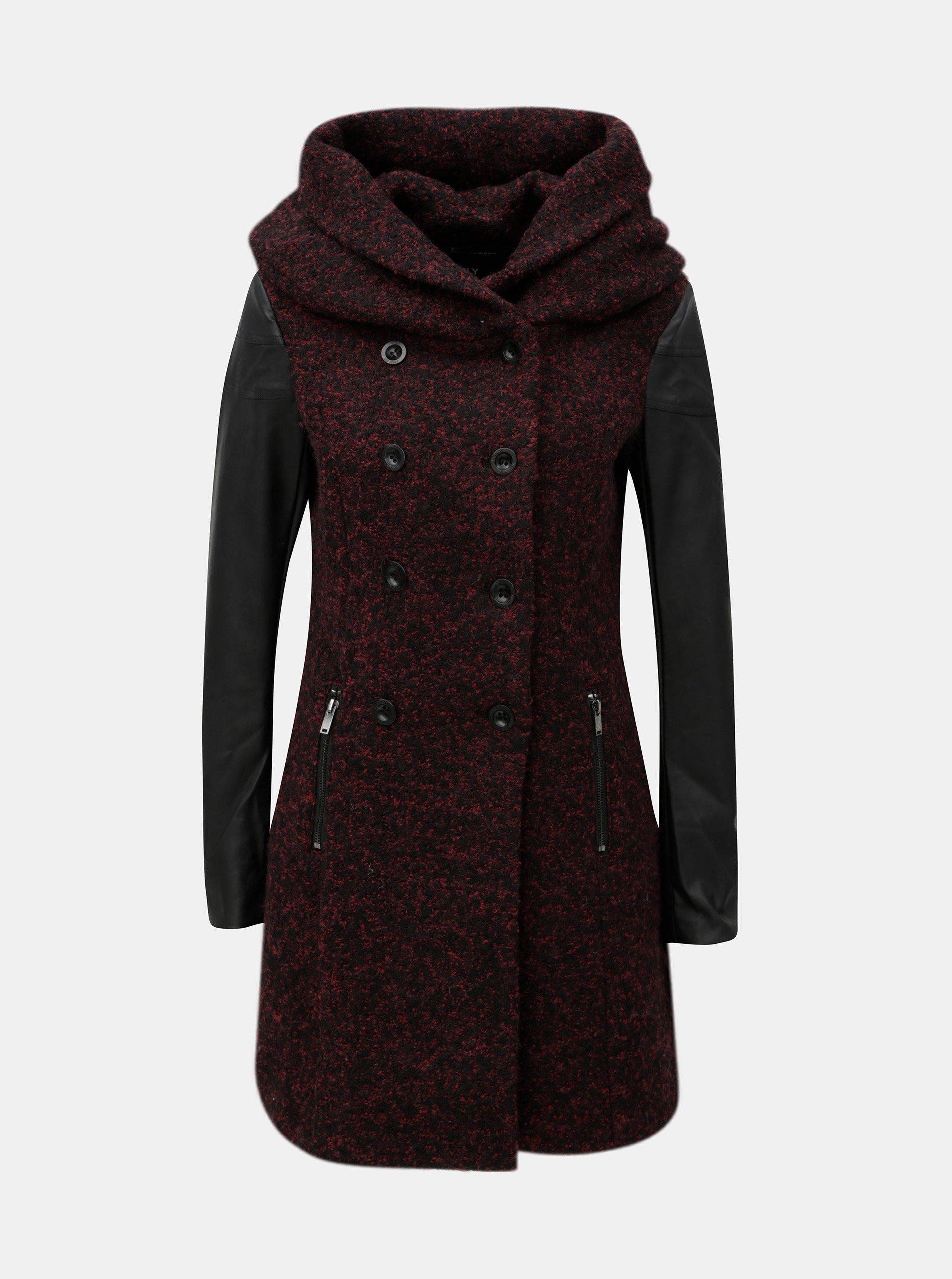 Vínový melírovaný kabát s prímesou vlny a opaskom ONLY Lisa