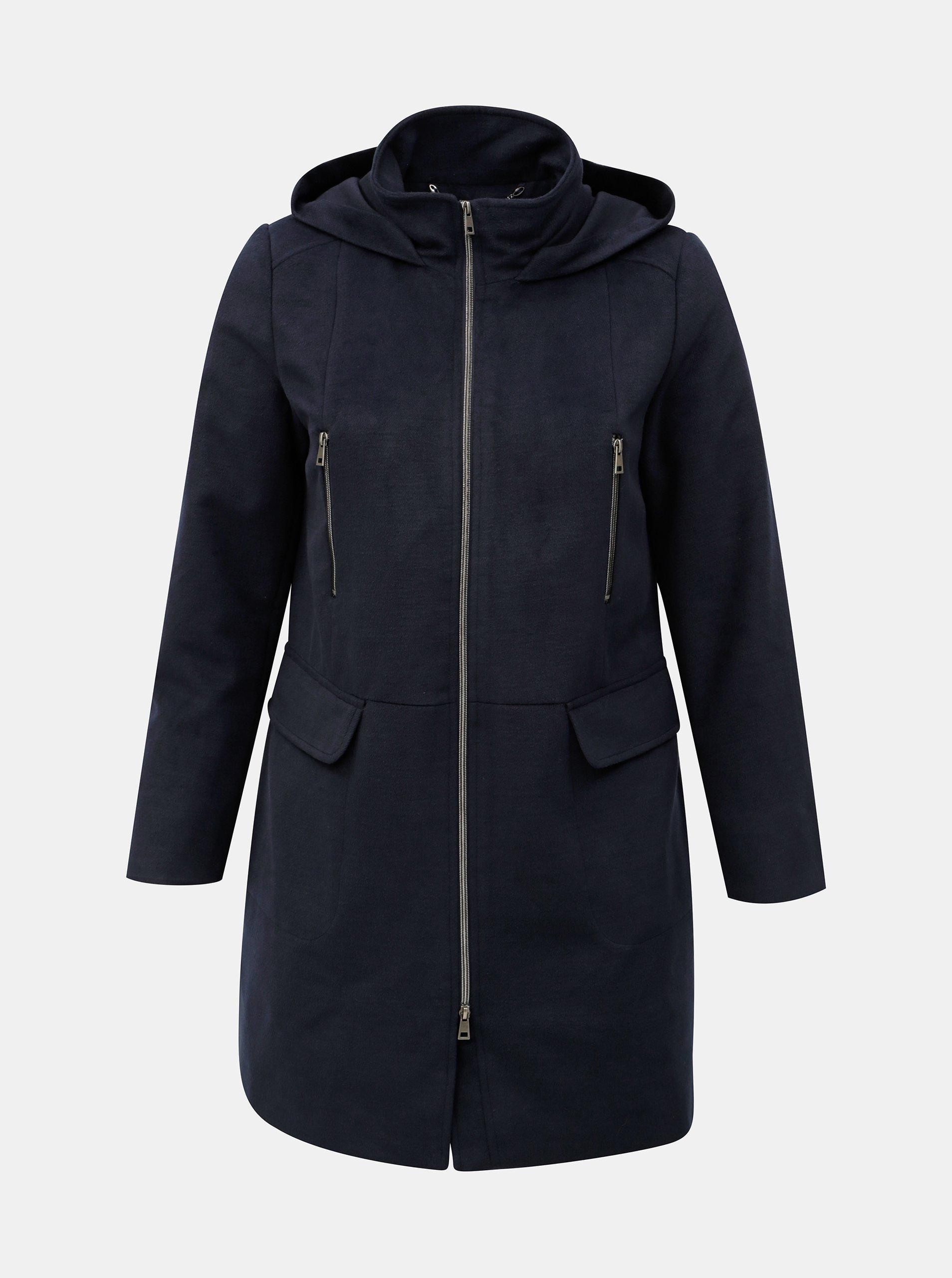 Tmavě modrý kabát s kapucí Ulla Popken d2e2ba30345