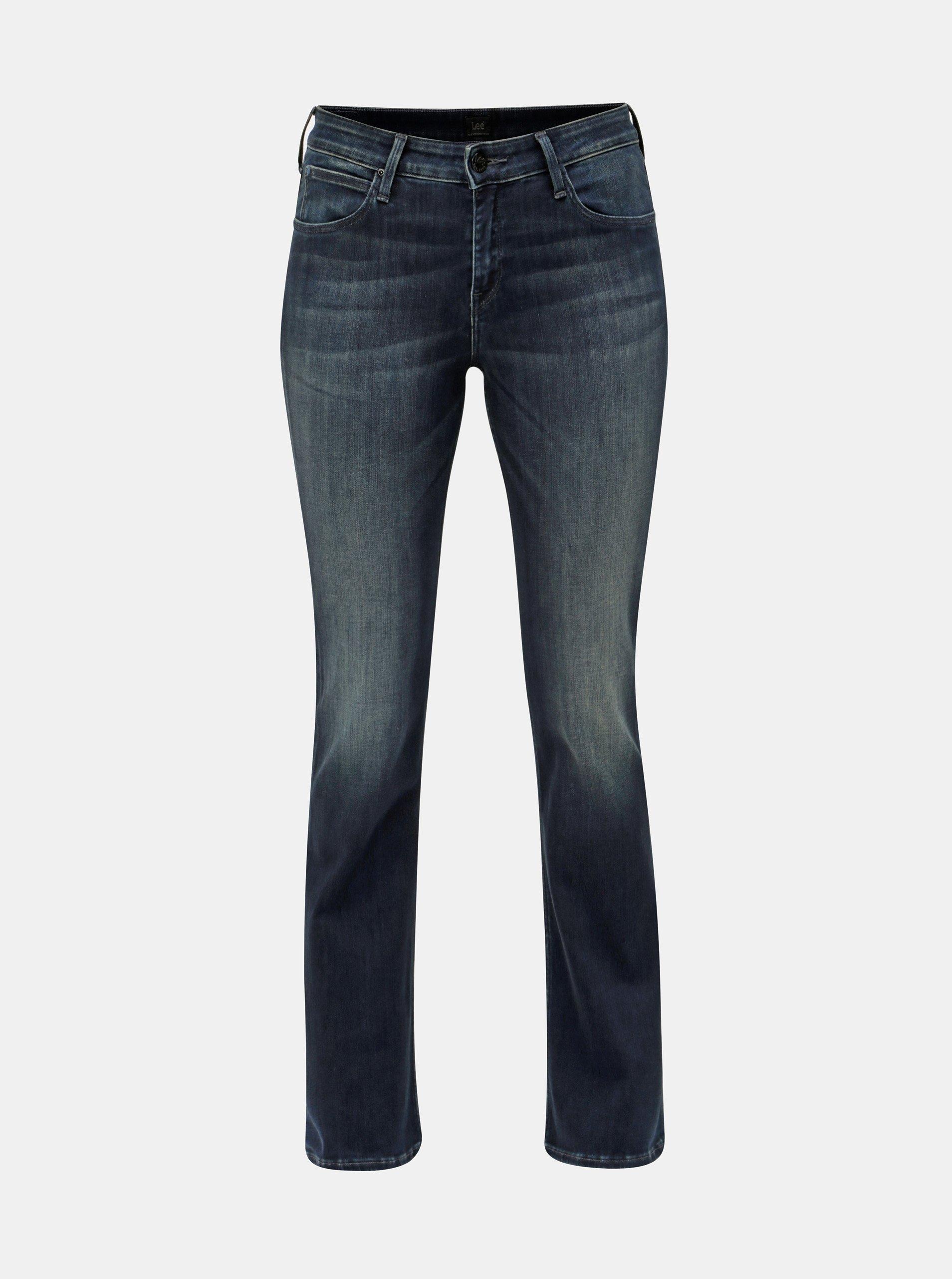 05dbeeff0af Tmavě modré dámské skinny bootcut džíny s vyšisovaným efektem Lee