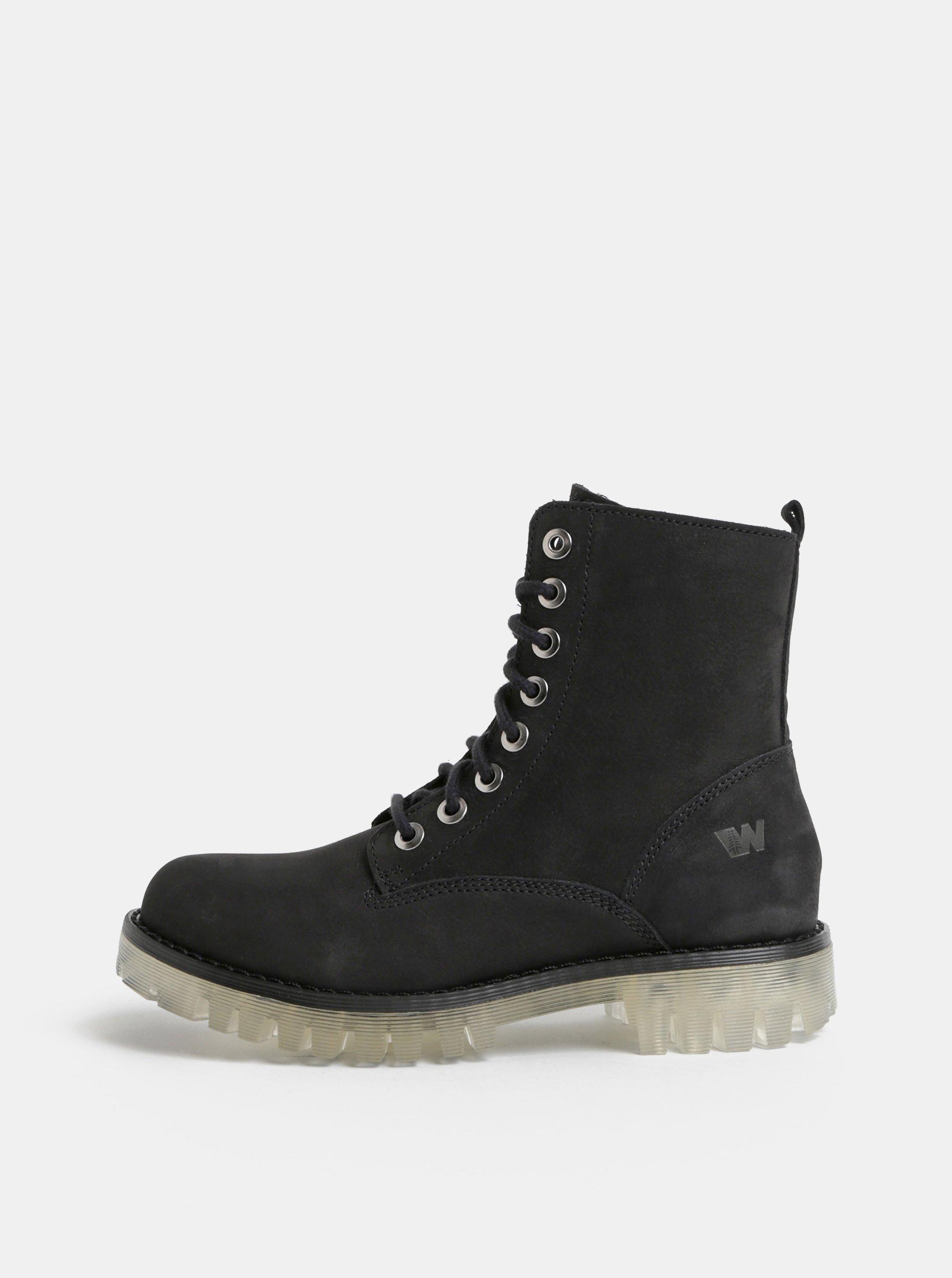 Černé dámské kožené kotníkové boty Weinbrenner 621a1d2709