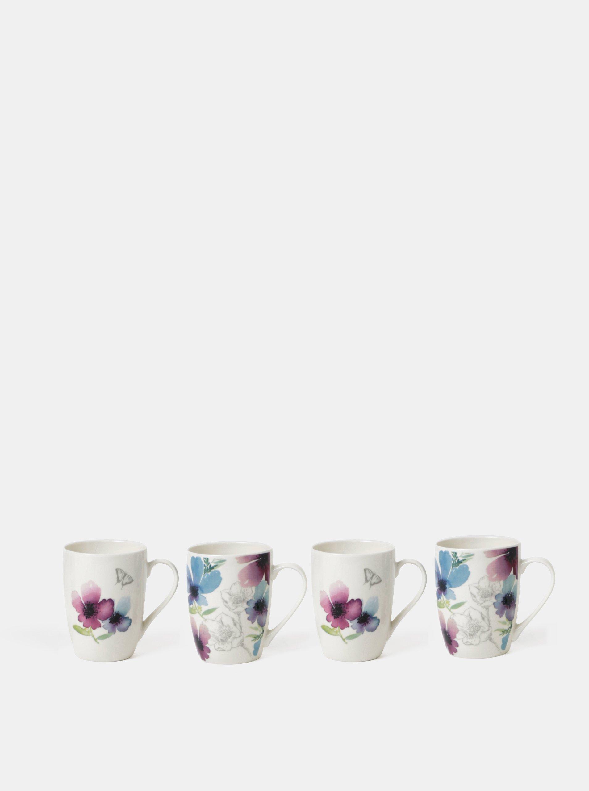 Súprava štyroch hrnčekov v bielej farbe s kvetovaným vzorom Cooksmart