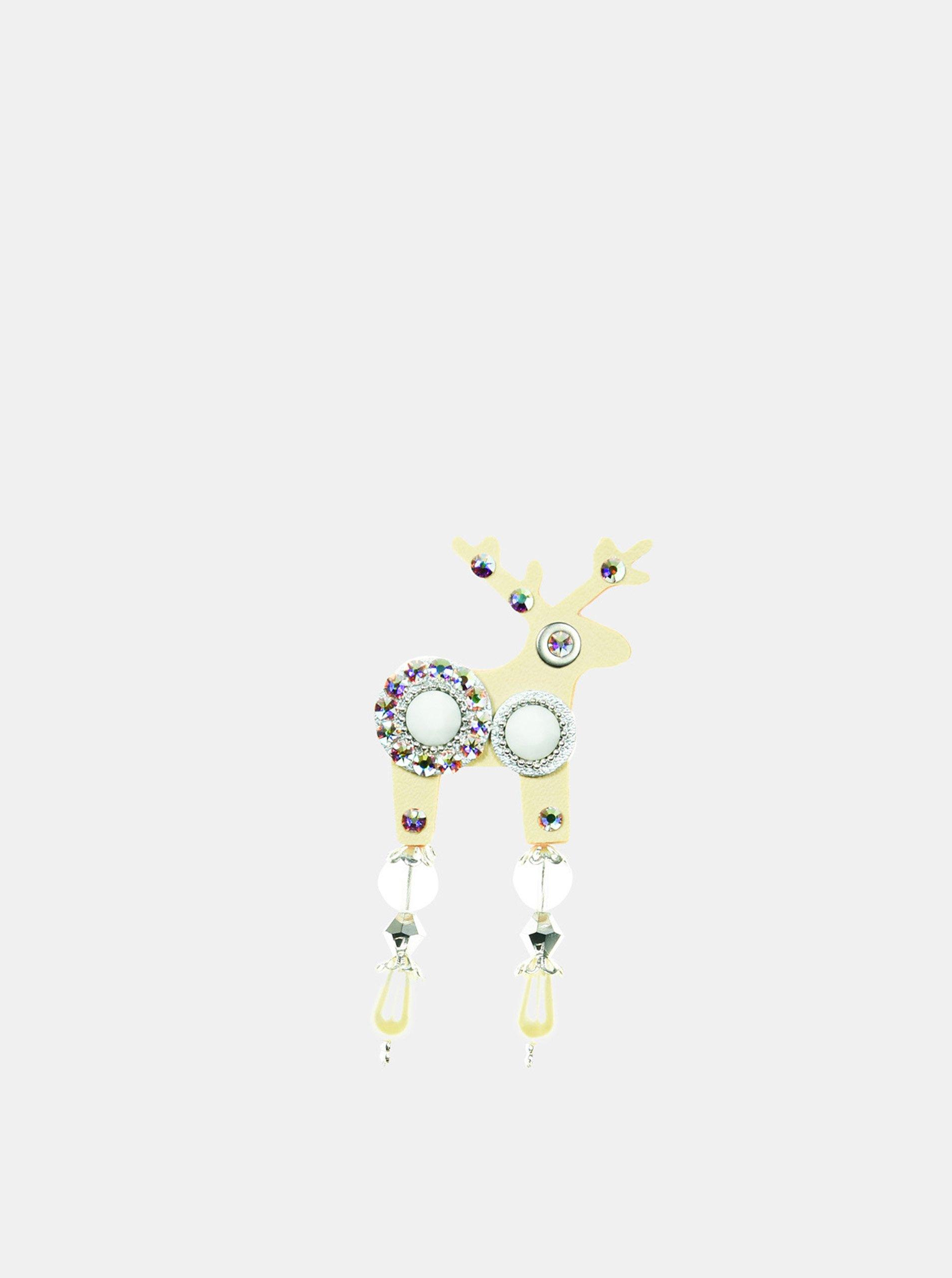 Béžová malá brož s komponenty Swarovsky Crystals Deers