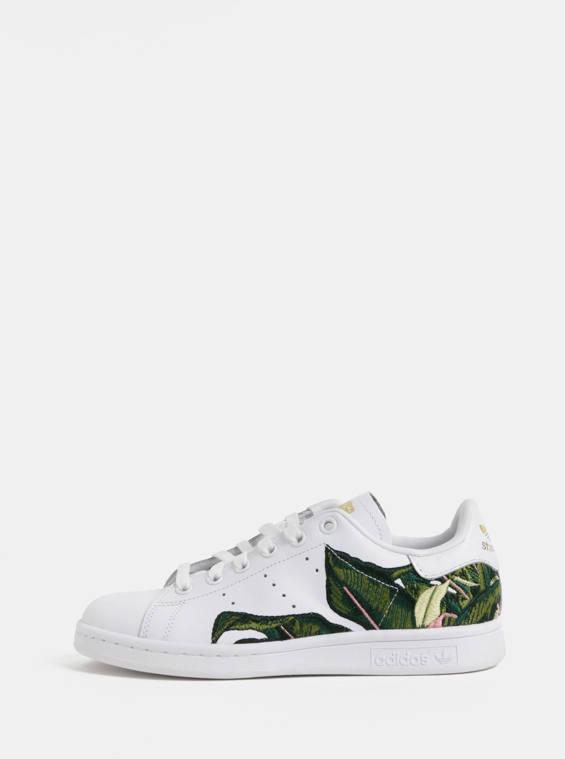 Bílé dámské kožené tenisky s výšivkou adidas Originals Stan Smith W