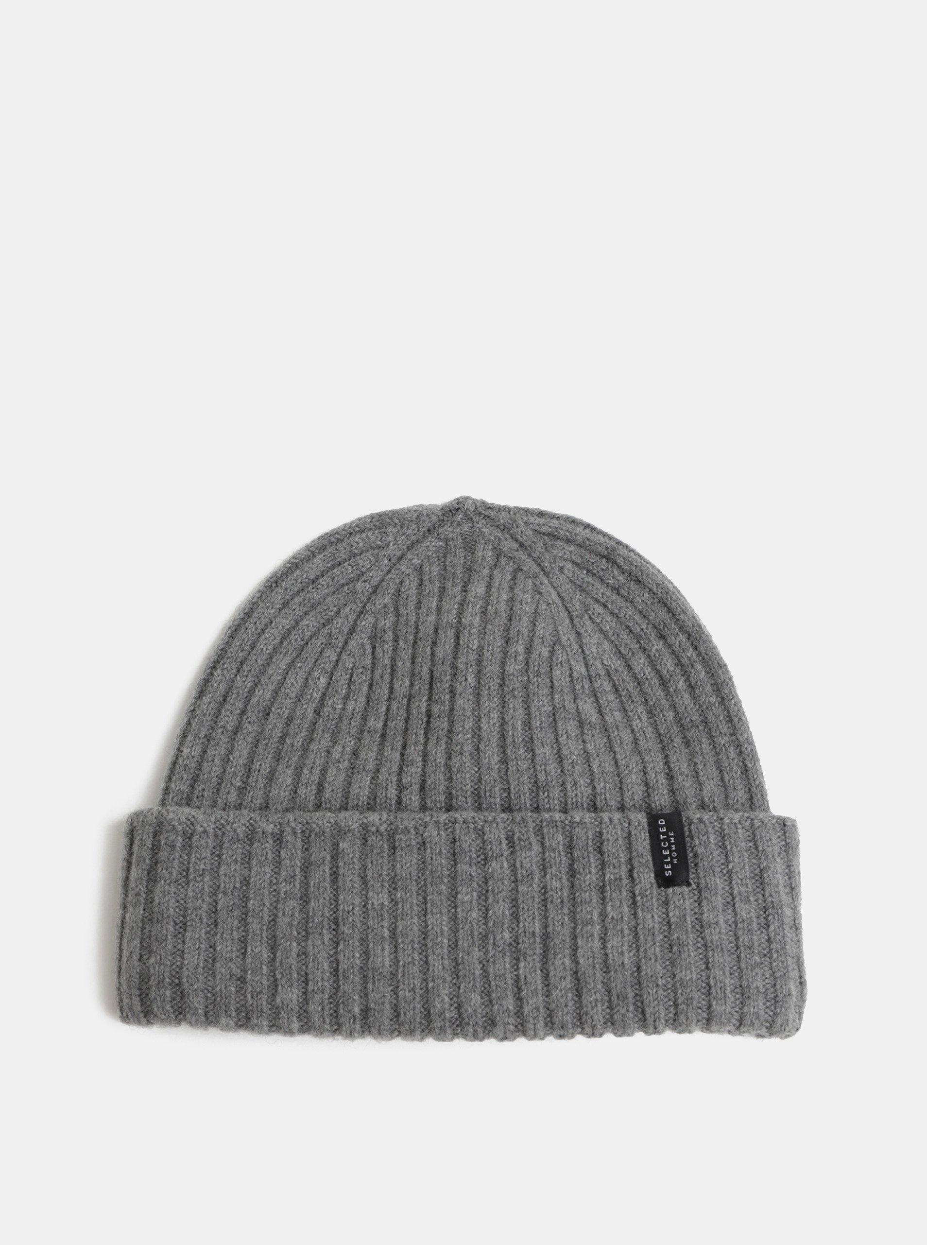 Šedá pletená vlněná zimní čepice Selected Homme