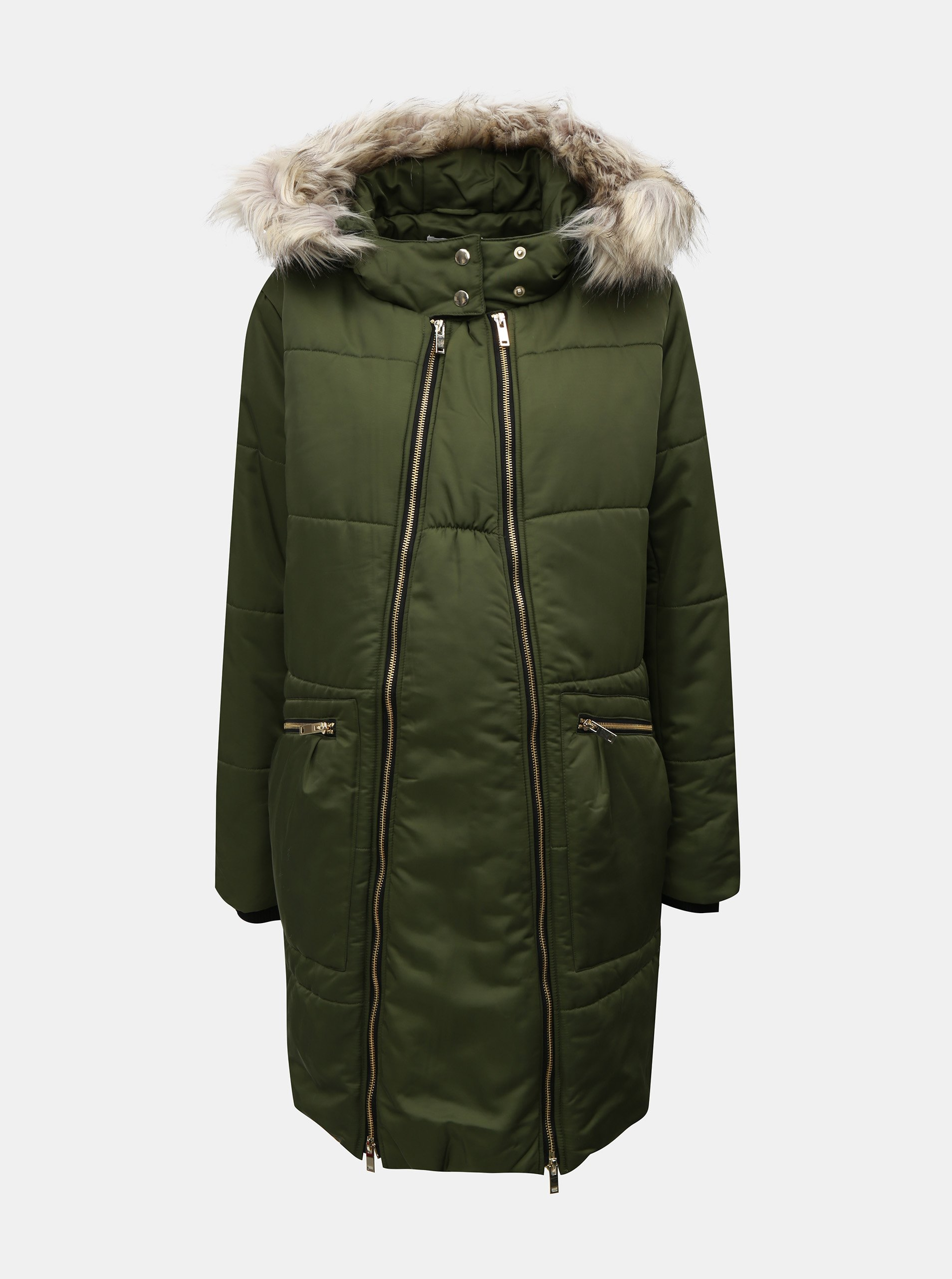 Zelená prošívaná zimní těhotenská bunda Mama.licious