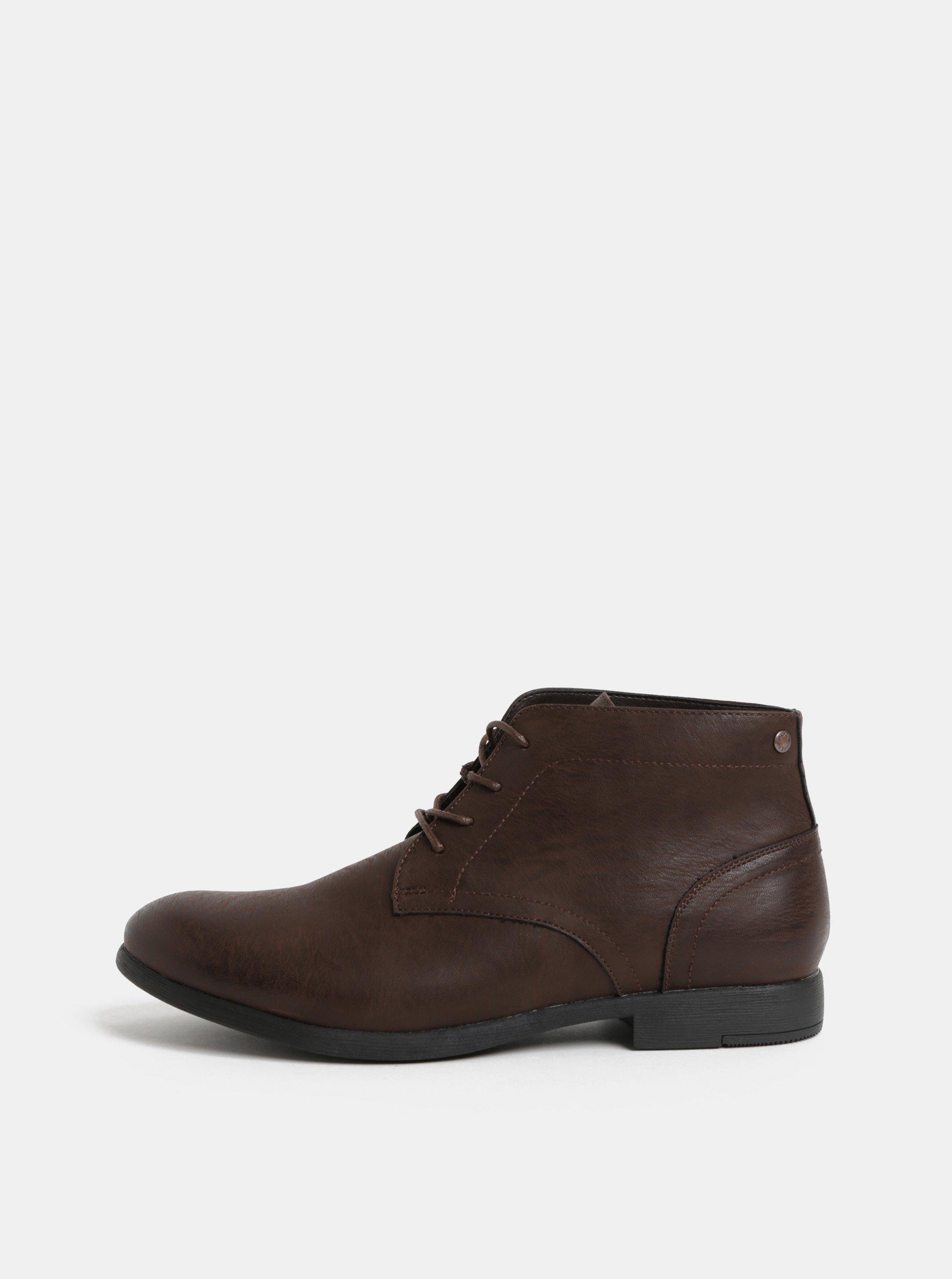 Hnědé pánské kotníkové boty Jack   Jones Desmond e9a81719423