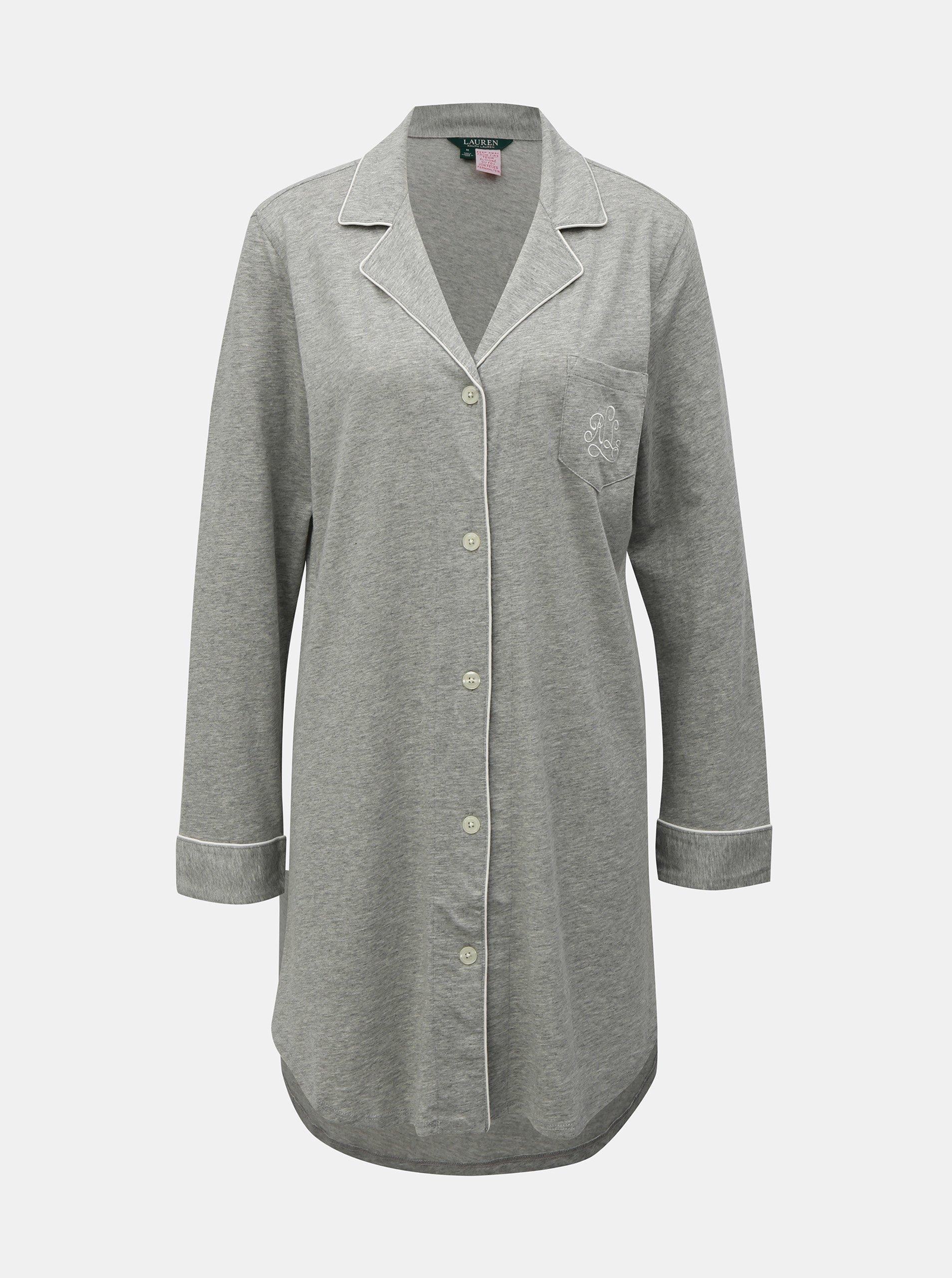 Šedá žíhaná noční košile se zapínáním na knoflíky Lauren Ralph Lauren