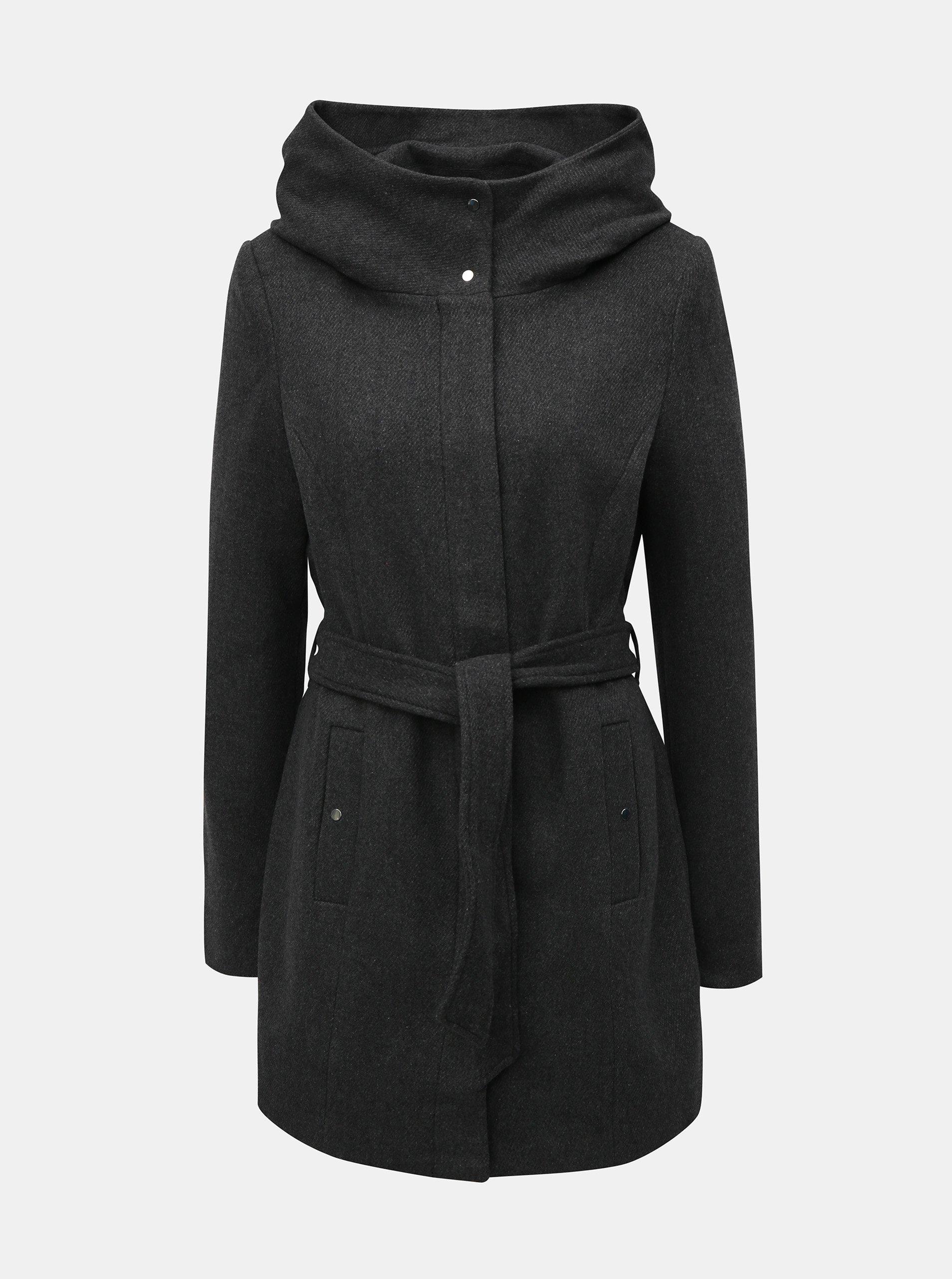 Sivý kabát s prímesou vlny VERO MODA Liva