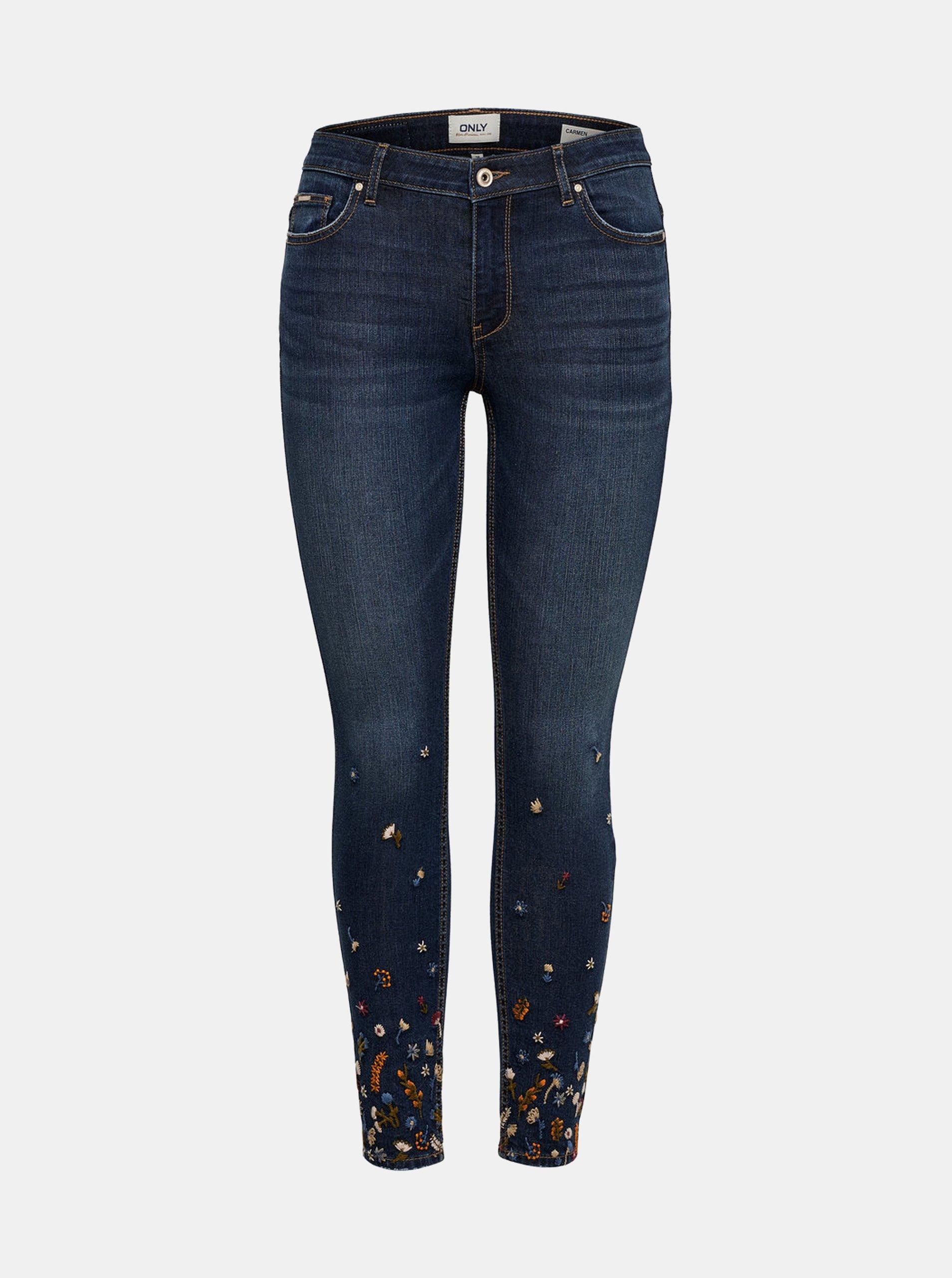 Tmavě modré skinny fit džíny s výšivkou ONLY Carmen