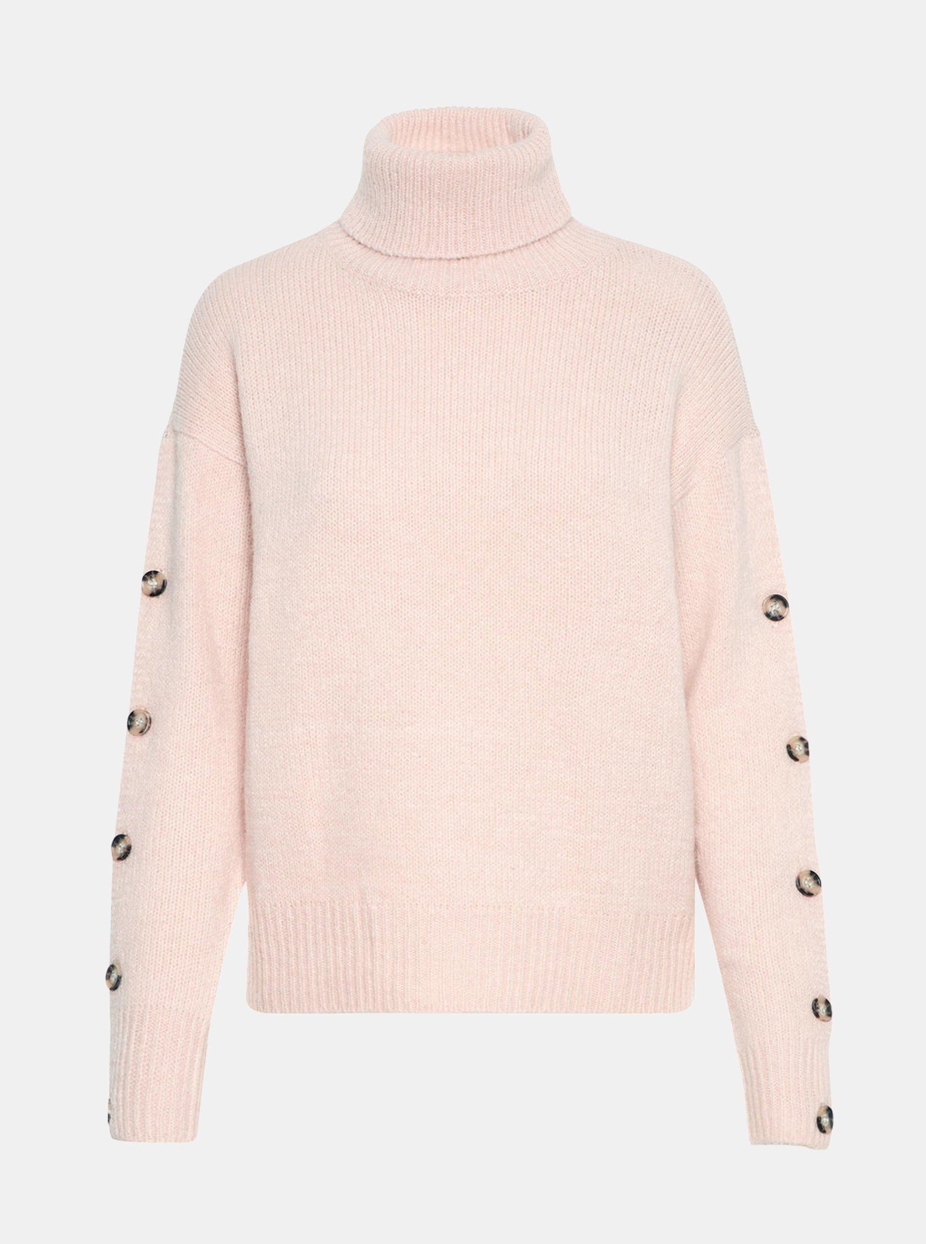 Fotografie Růžový svetr s rolákem a knoflíky na rukávech VERO MODA Acel