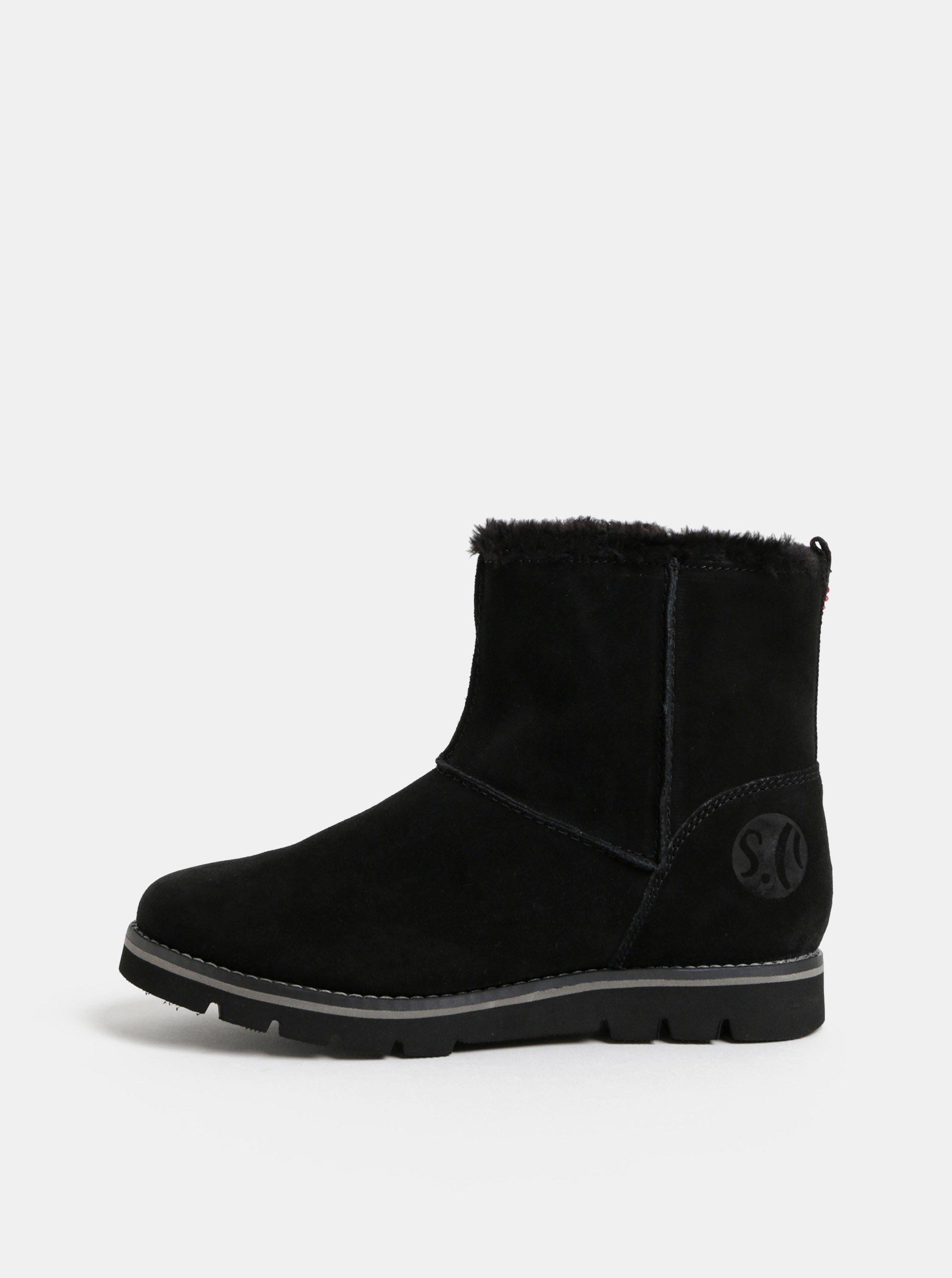 Černé dámské semišové zimní boty s umělým kožíškem s.Oliver