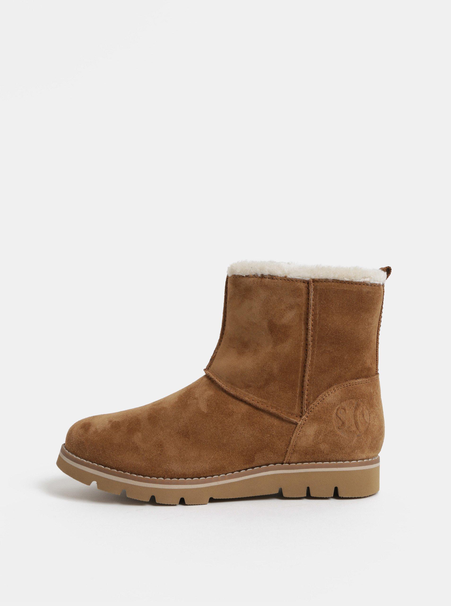 c9135e1dfe0c Hnědé dámské semišové zimní boty s umělým kožíškem s.Oliver