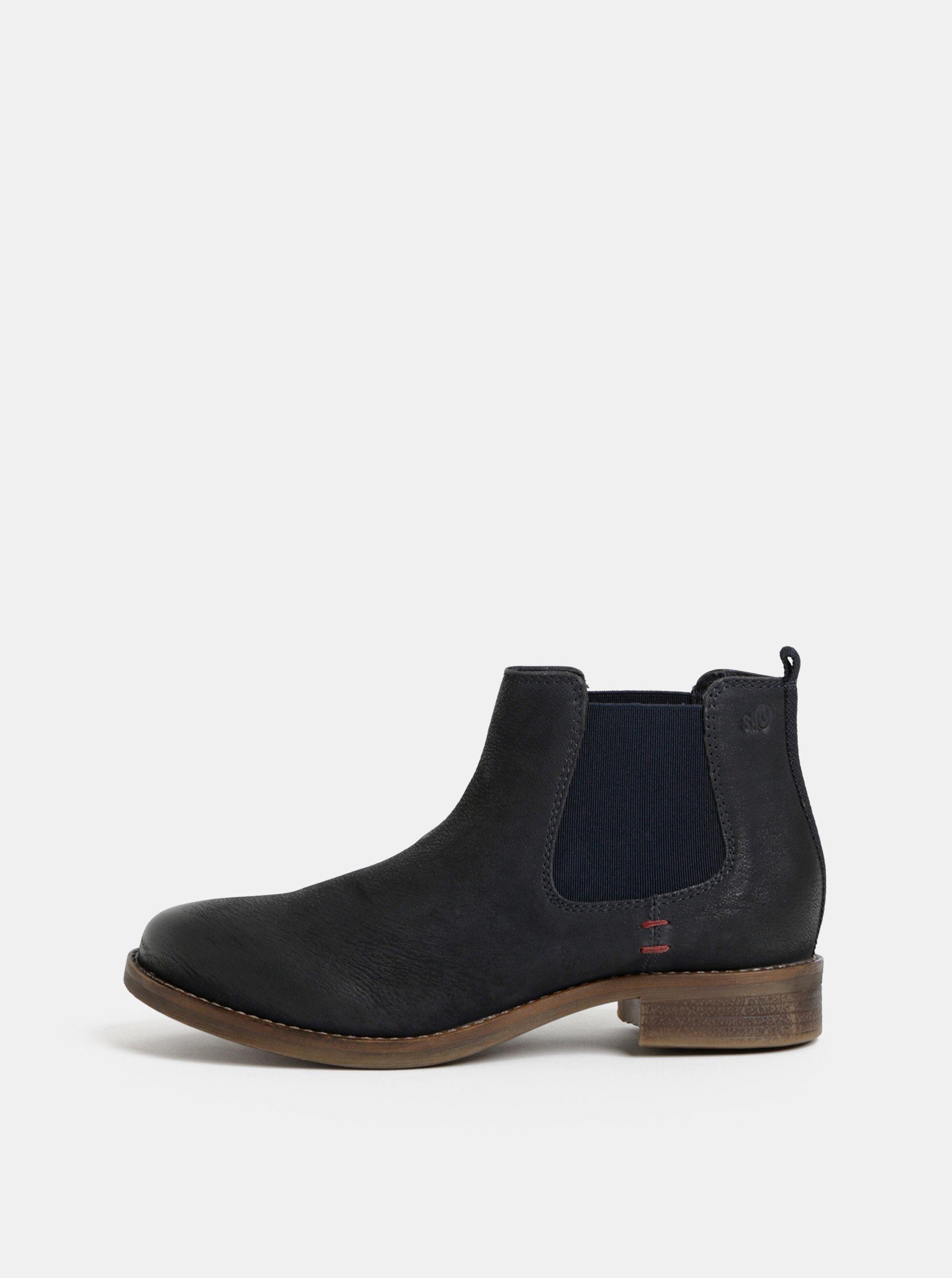 Tmavě modré kožené chelsea boty s.Oliver