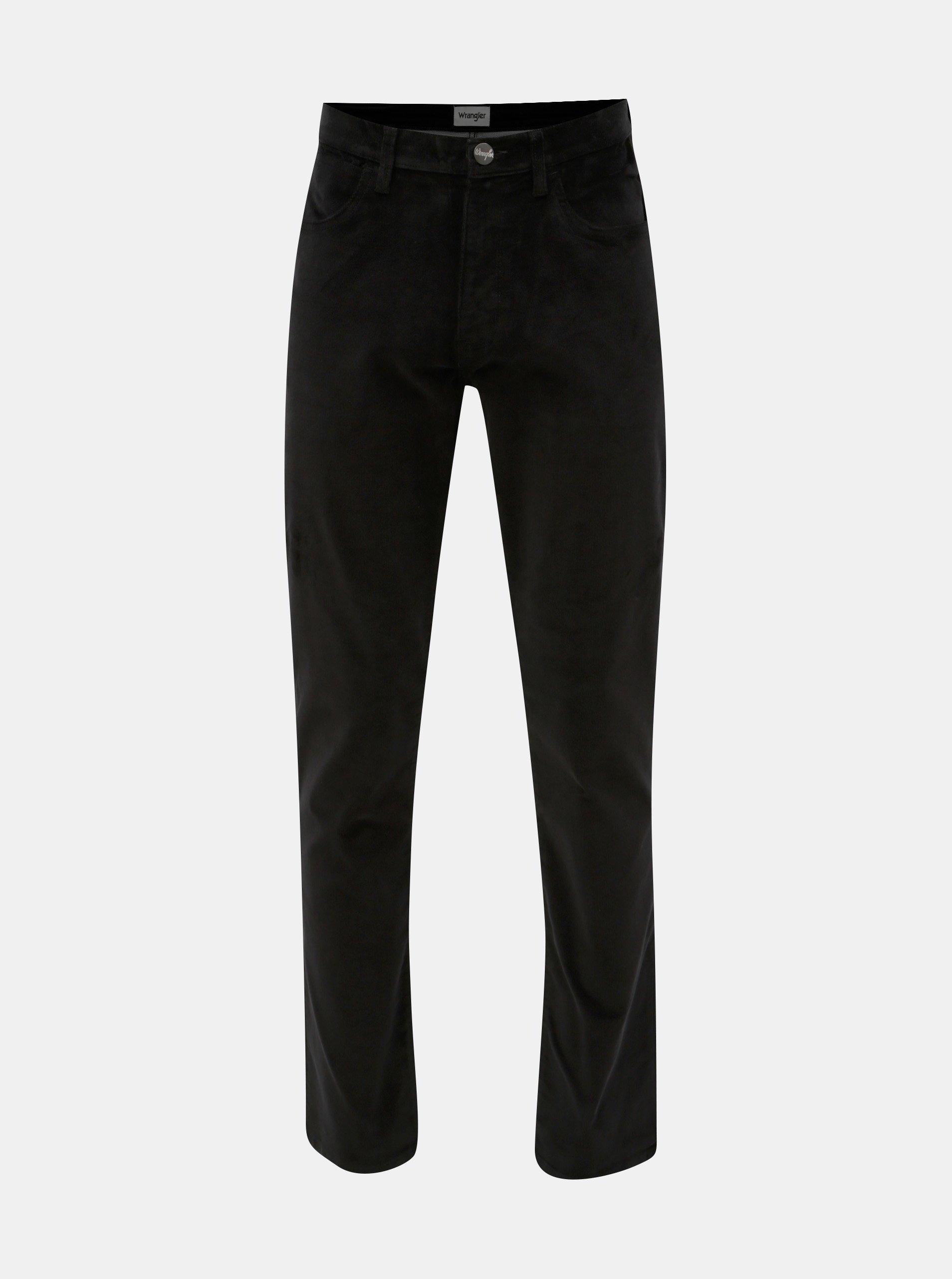 Čierne pánske menčestrové nohavice Wrangler Arizona