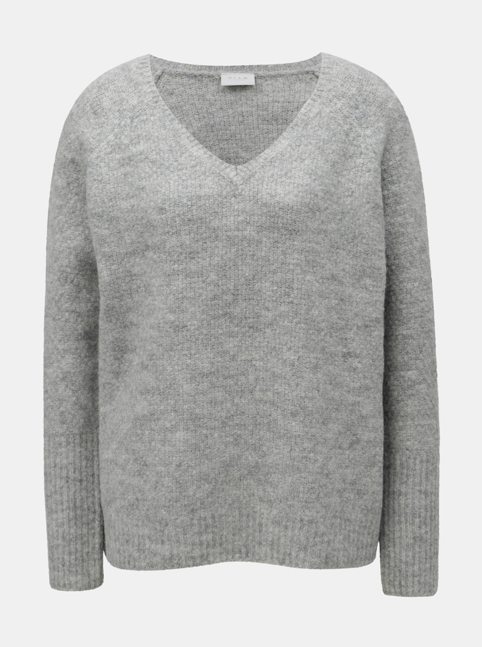 725263a2a865 Sivý melírovaný oversize sveter s prímesou vlny VILA