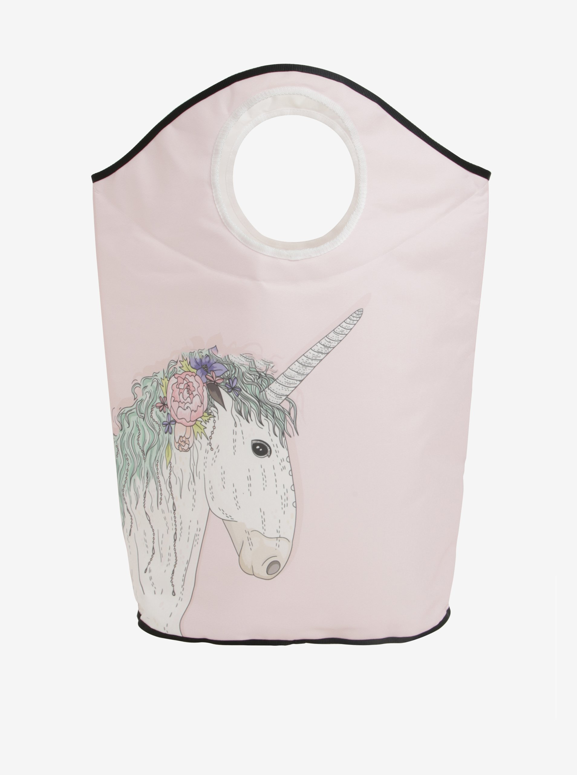 Světle růžový koš na prádlo s potiskem jednorožce Butter Kings