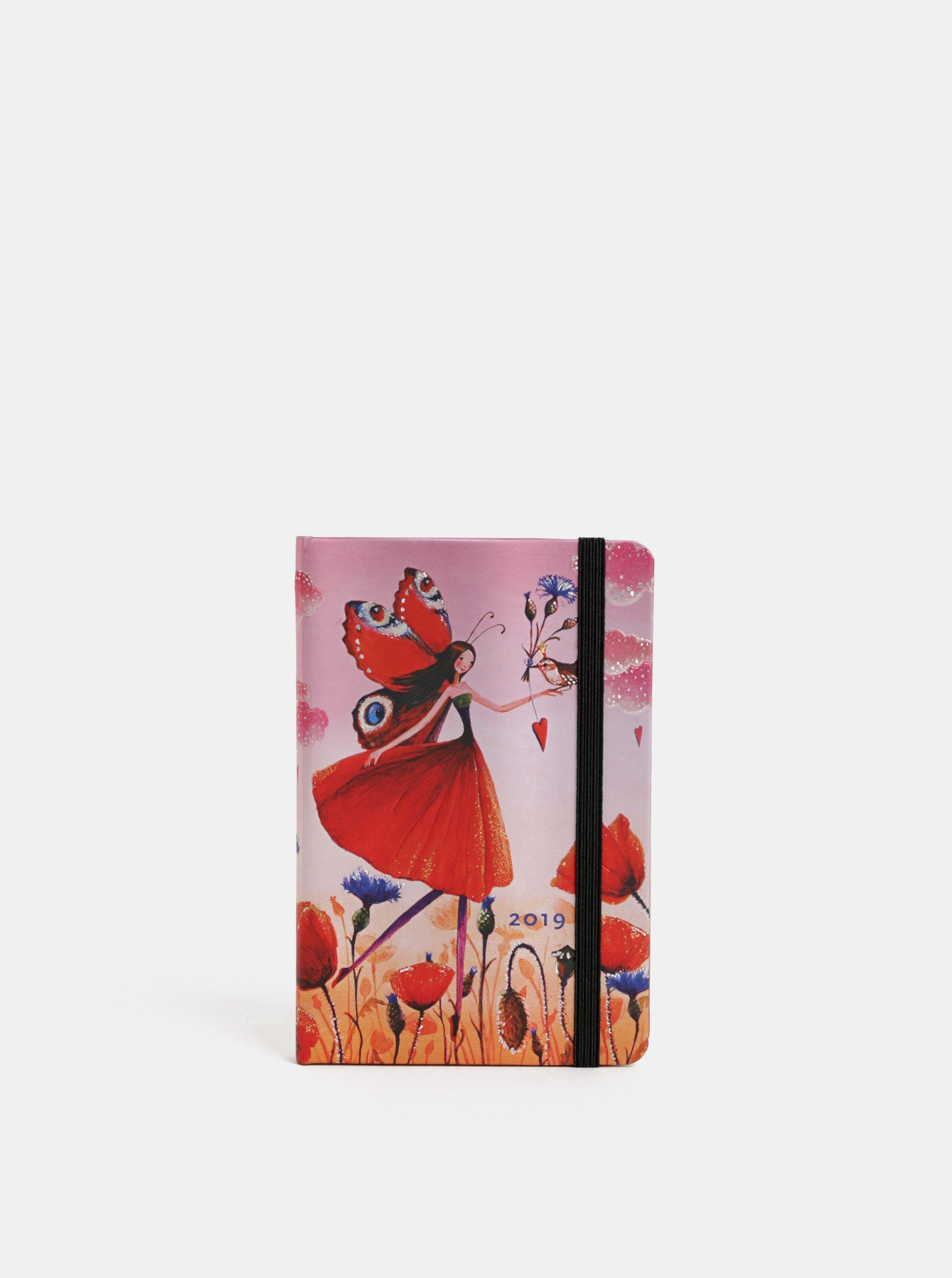 Čeveno-růžový týdenní mini diář na rok 2019 Paperblanks Poppy Field