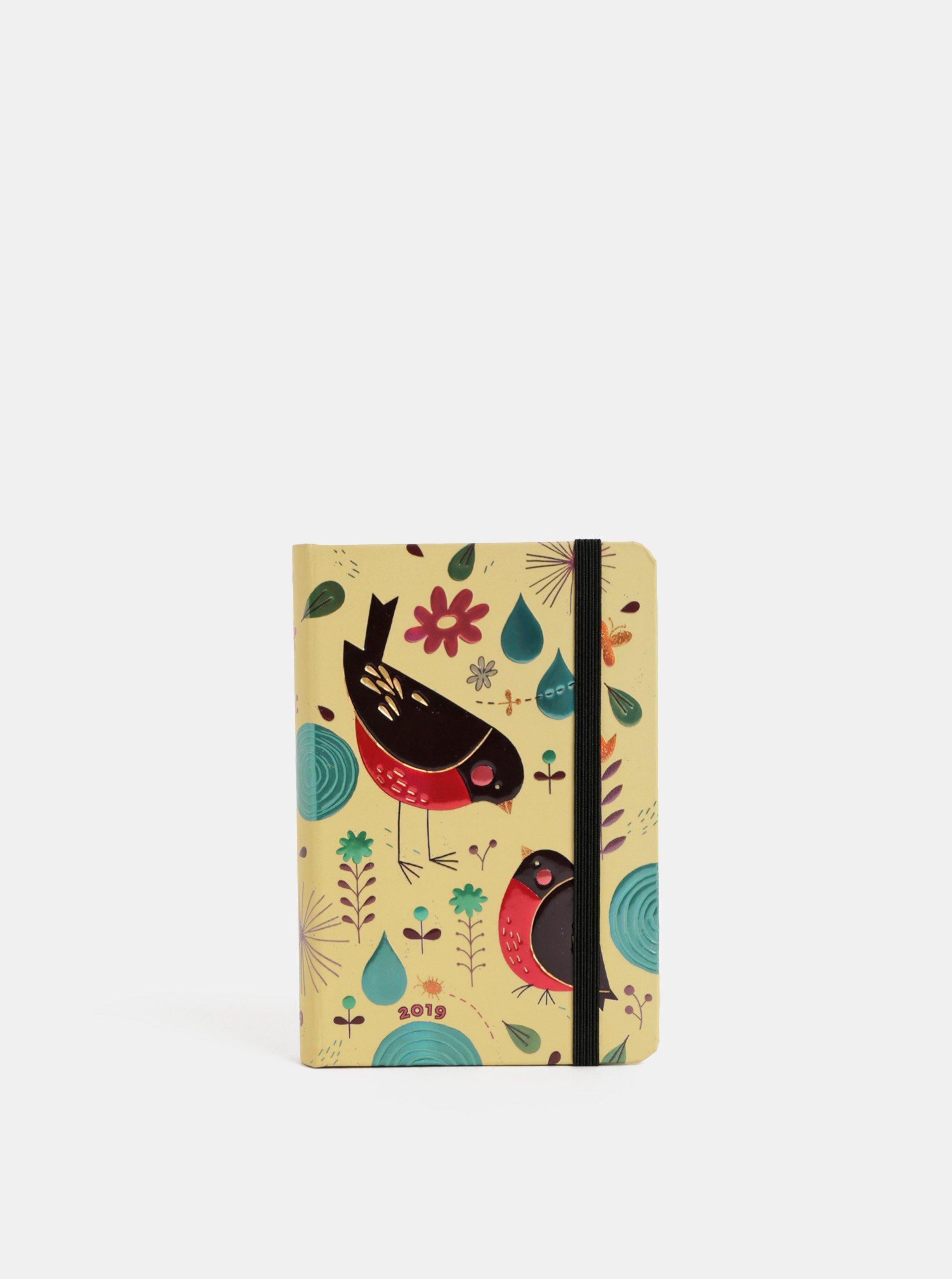 Béžový denní mini diář na rok 2019 Paperblanks Mother Robin