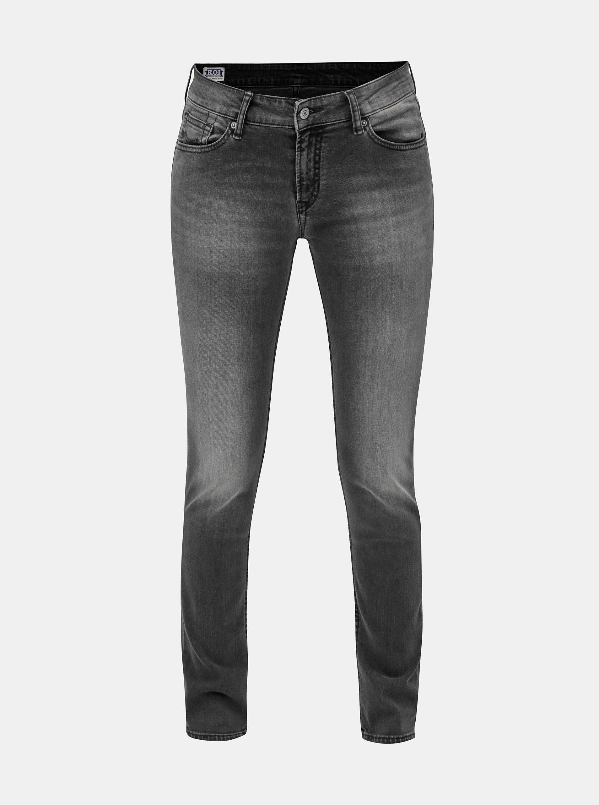 Šedé dámské slim fit džíny s vyšisovaným efektem Kings of Indigo 5f508b252d