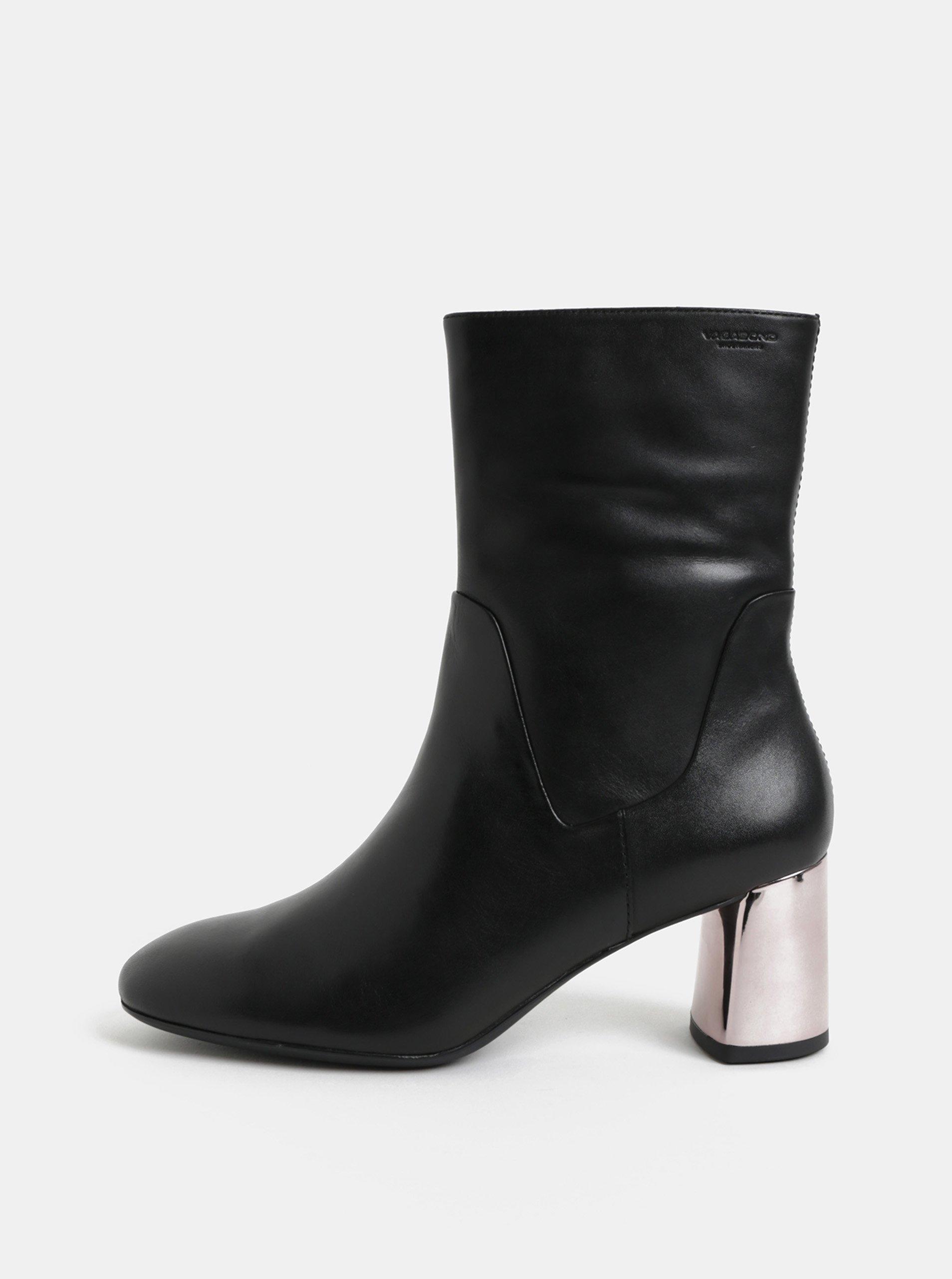 Černé dámské kožené nízké kozačky s metalickým podpatkem Vagabond Jeena