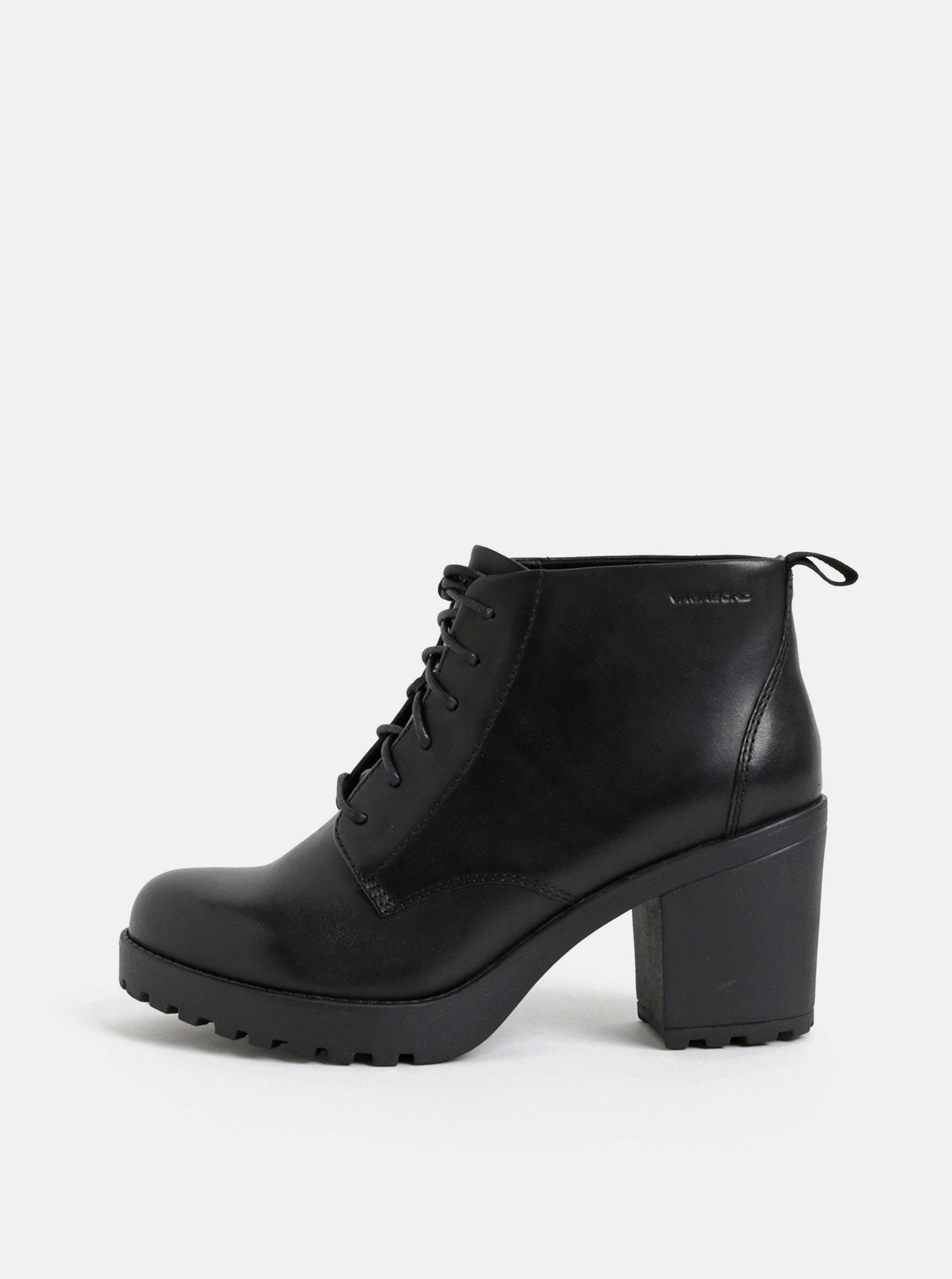 3920f5802e818 Čierne dámske kožené členkové topánky na podpätku Vagabond Grace