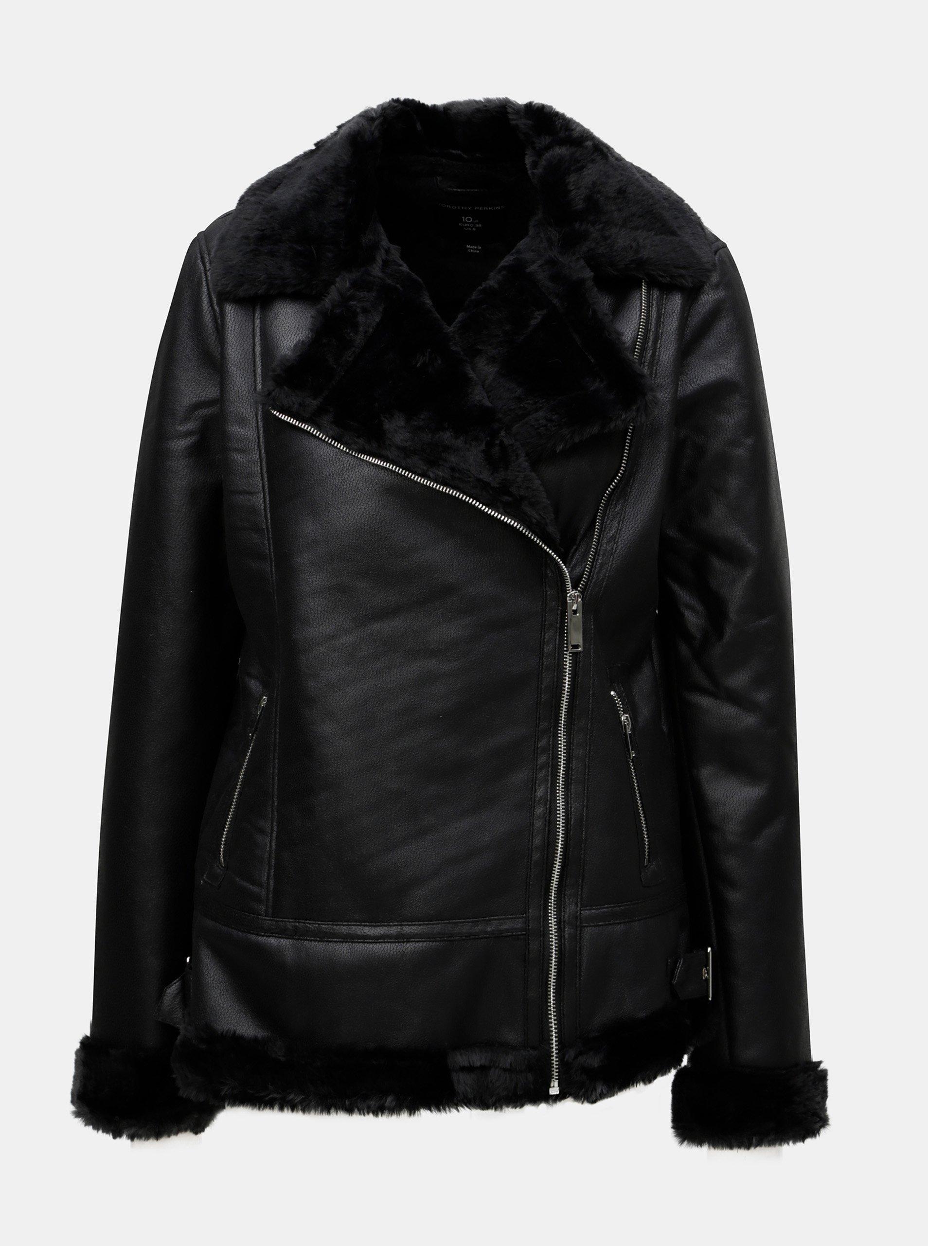 Černý koženkový křivák s umělým kožíškem Dorothy Perkins