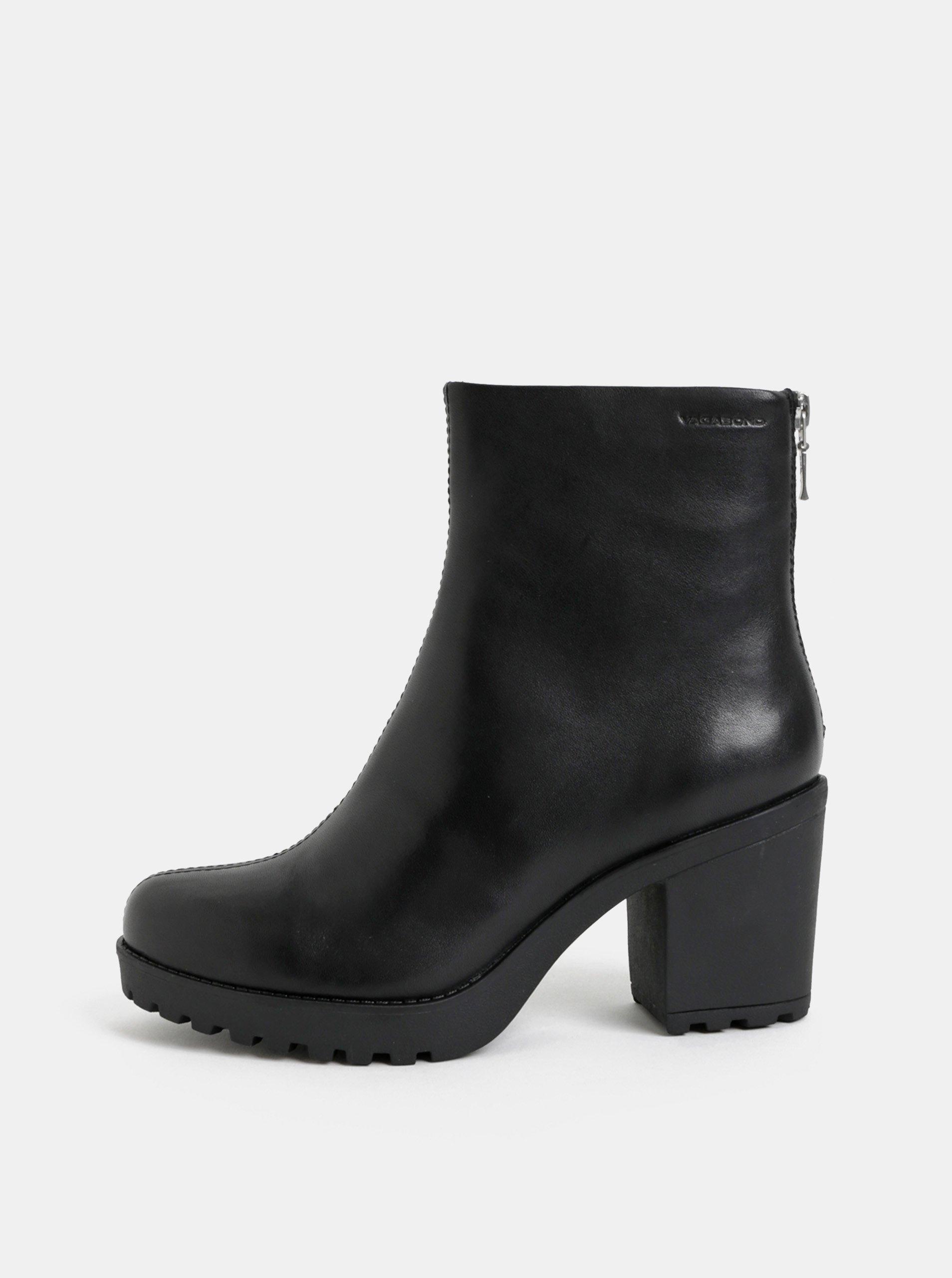 Černé dámské kožené kotníkové boty na podpatku Vagabond Grace