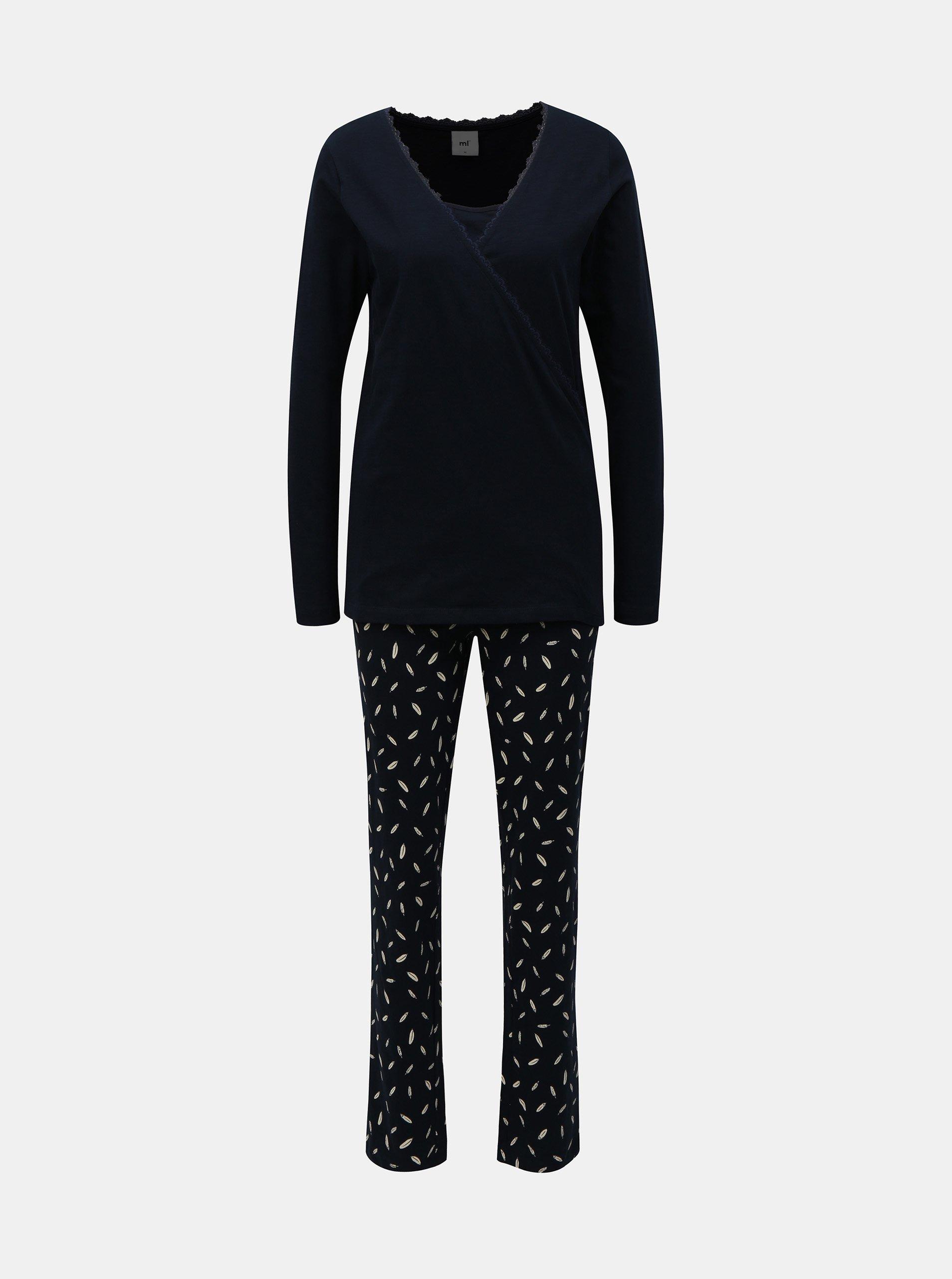 Tmavě modré těhotenské kojicí dvoudílné pyžamo Mama.licious d07809d44d