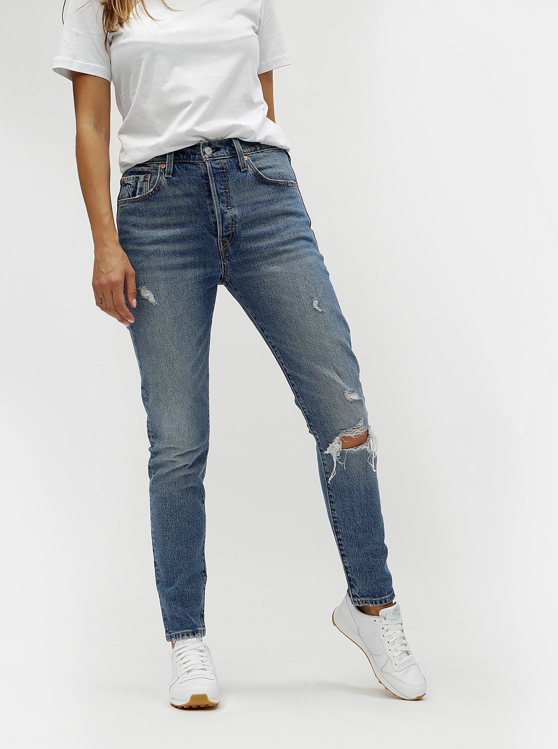 1c86b350808 Modré dámské skinny džíny s potrhaným efektem Levi s®