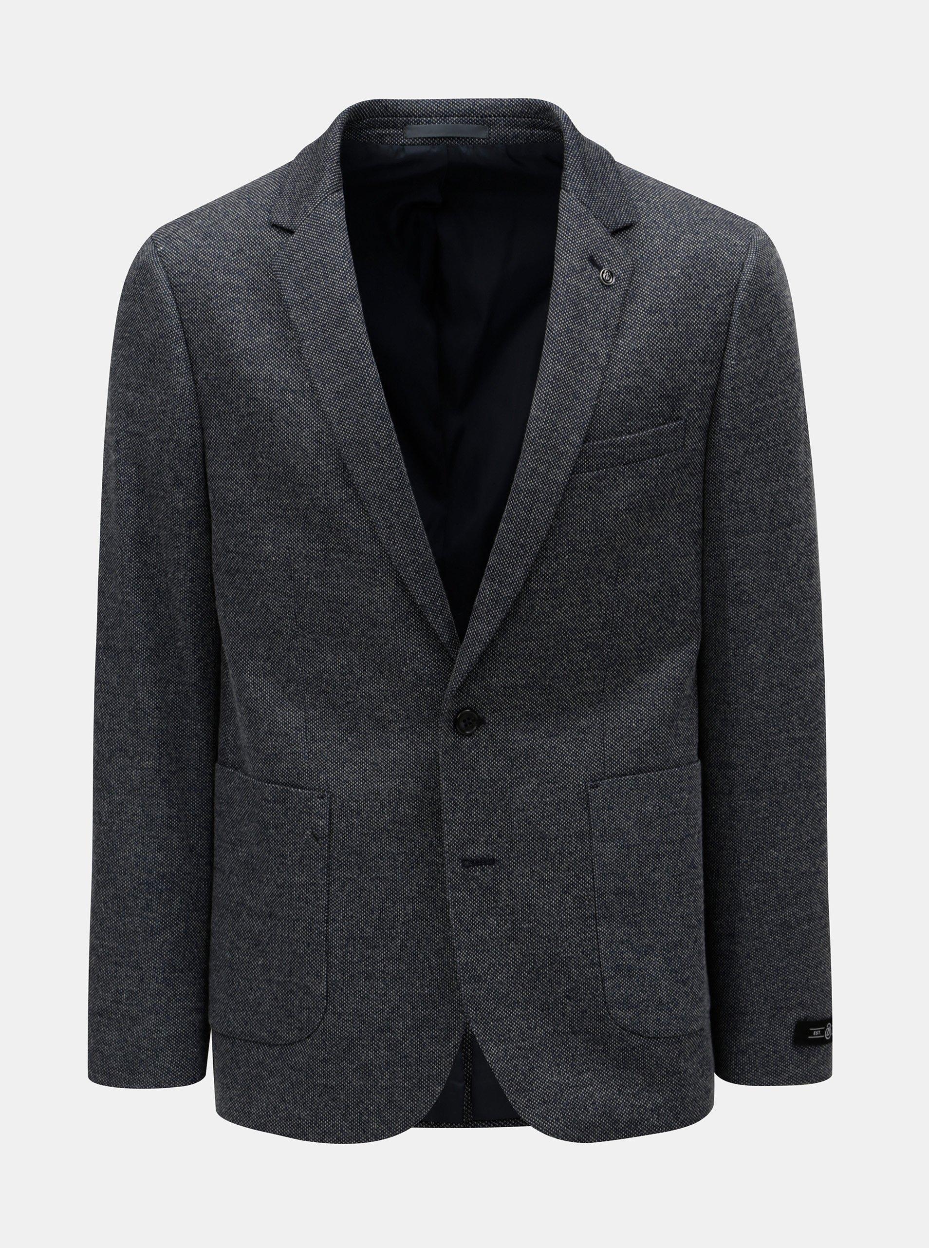 Tmavě modré pánské sako s drobným vzorem Burton Menswear London