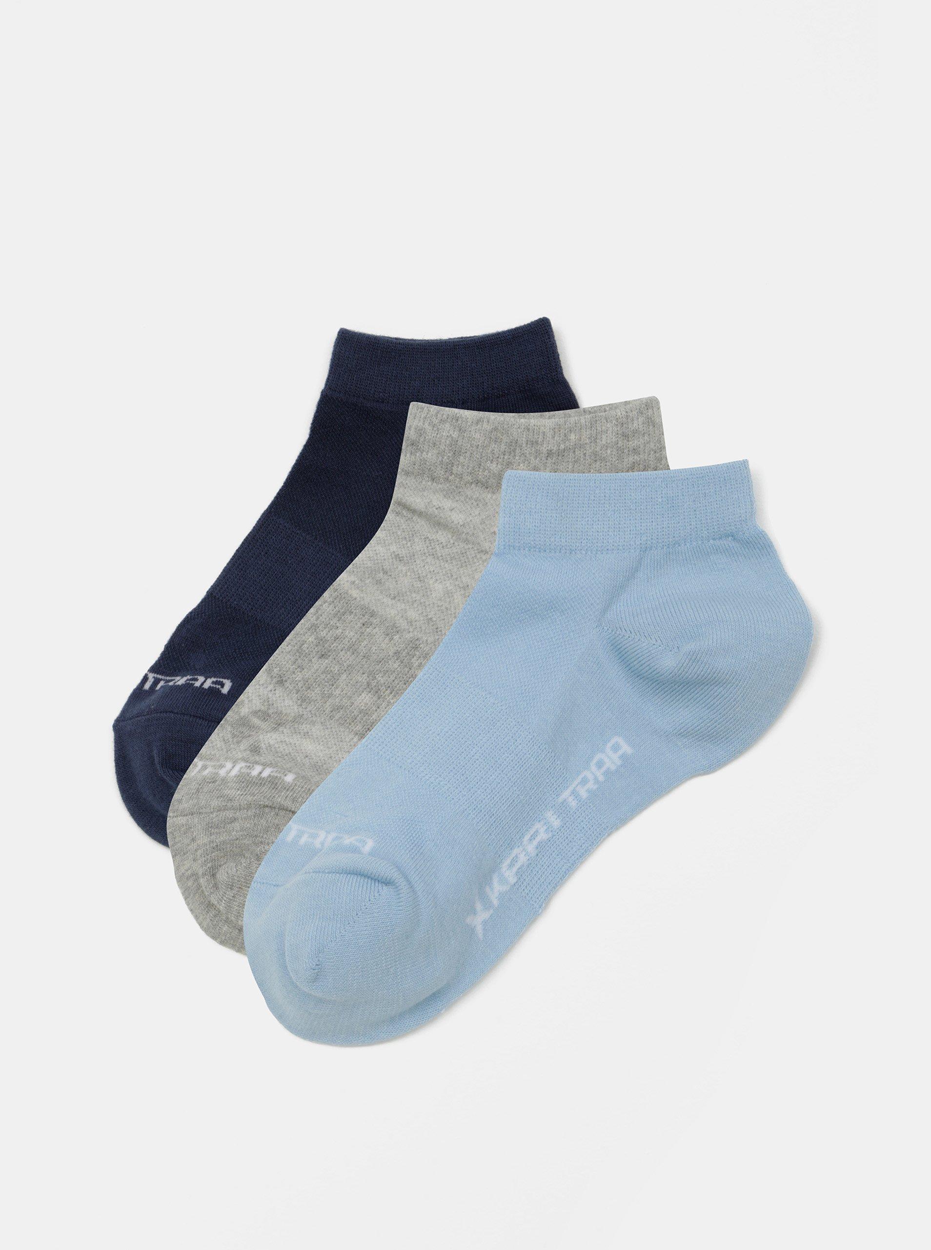 Sada tří párů ponožek v modré a šedé barvě Kari Traa
