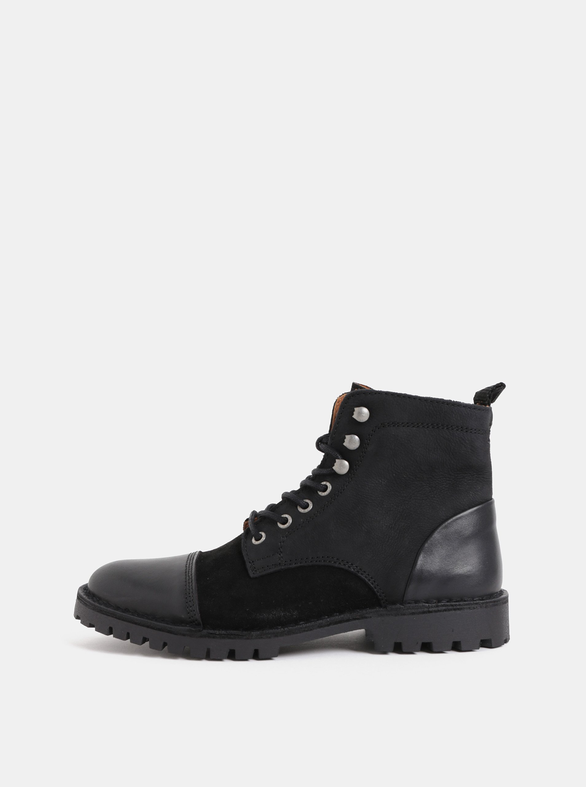 Černé pánské kožené kotníkové boty Selected Homme