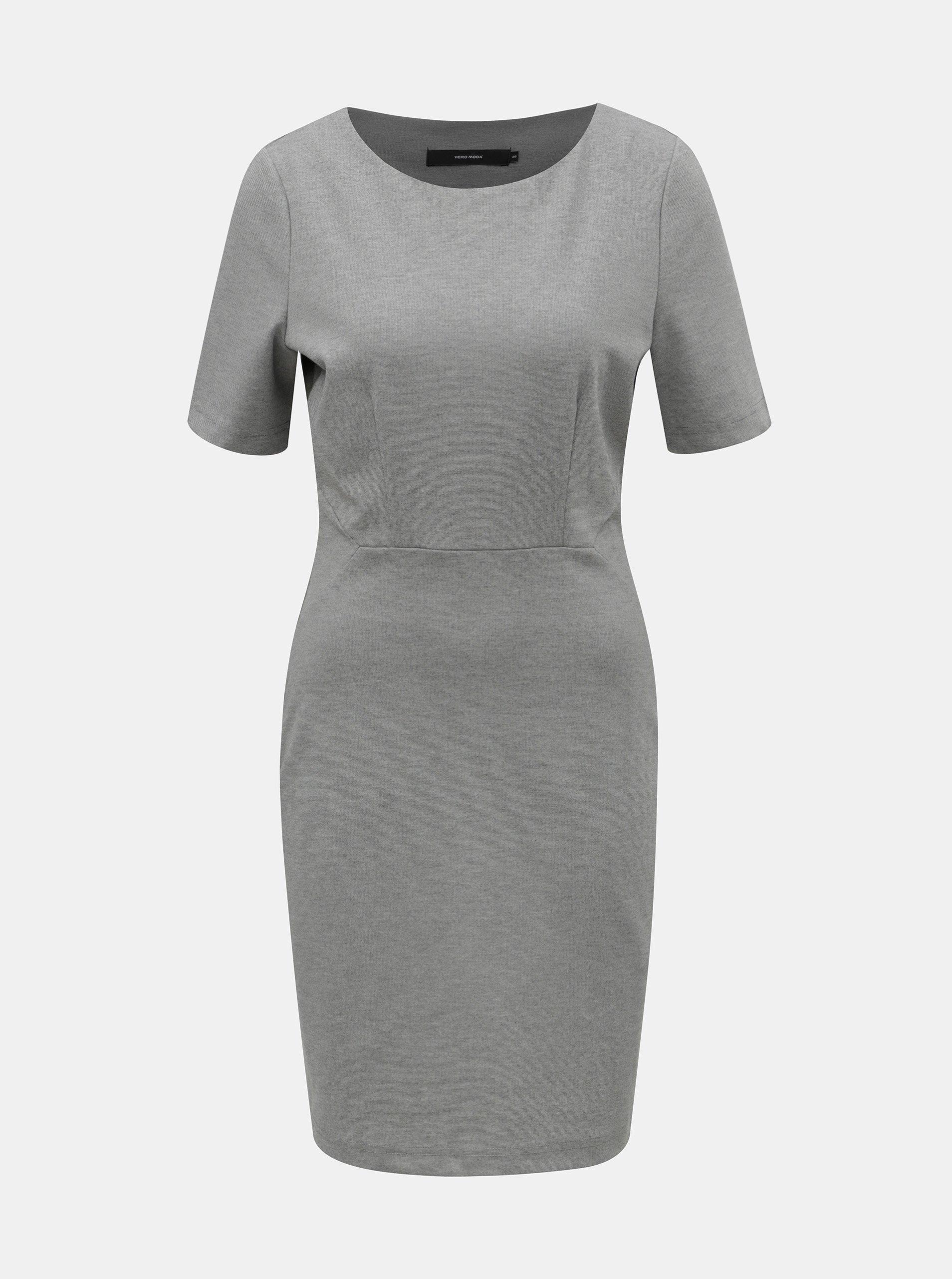0ed748c04aa4 Svetlosivé melírované puzdrové šaty s krátkym rukávom VERO MODA Mynte
