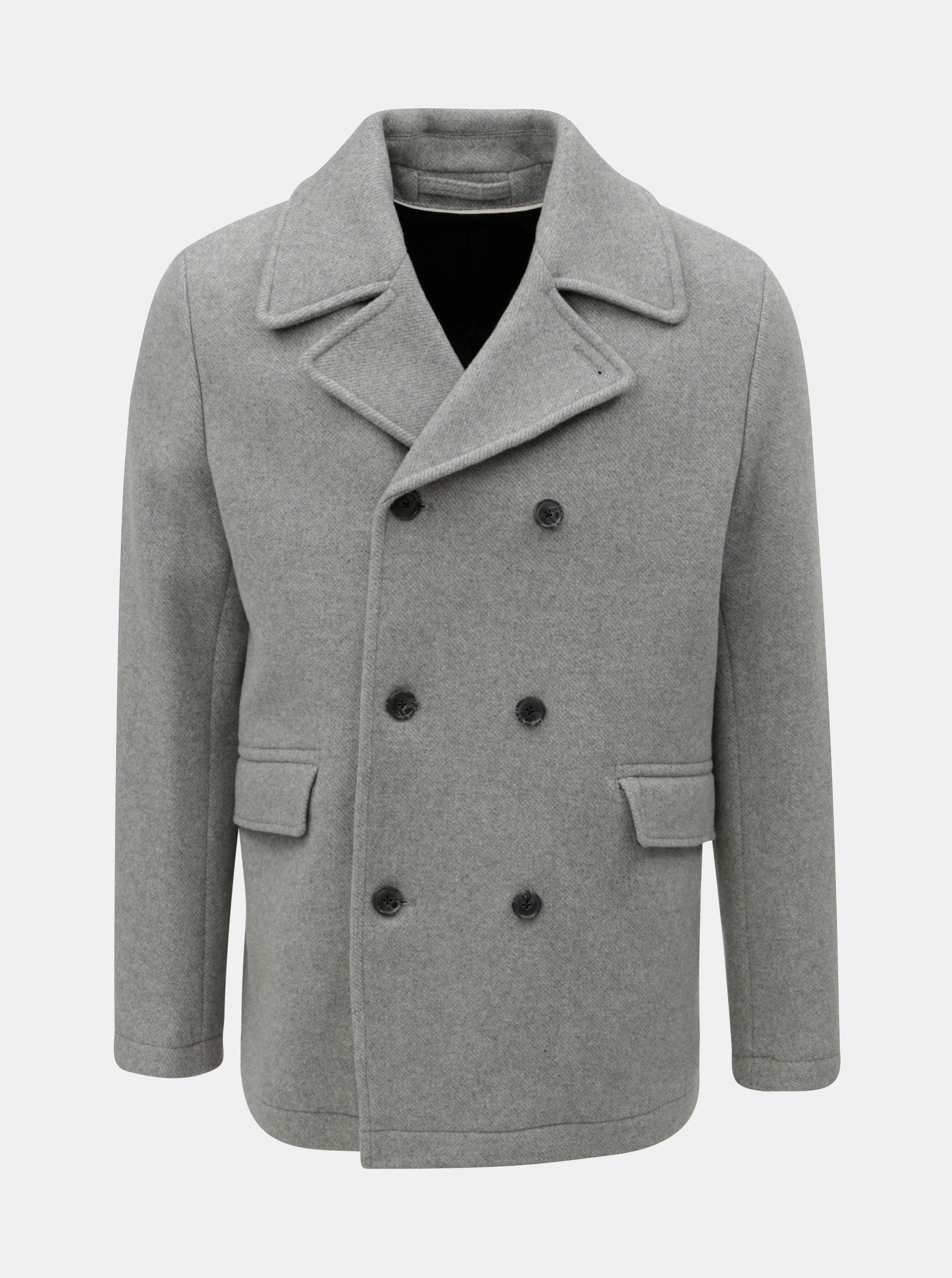 Šedý vlněný kabát Selected Homme
