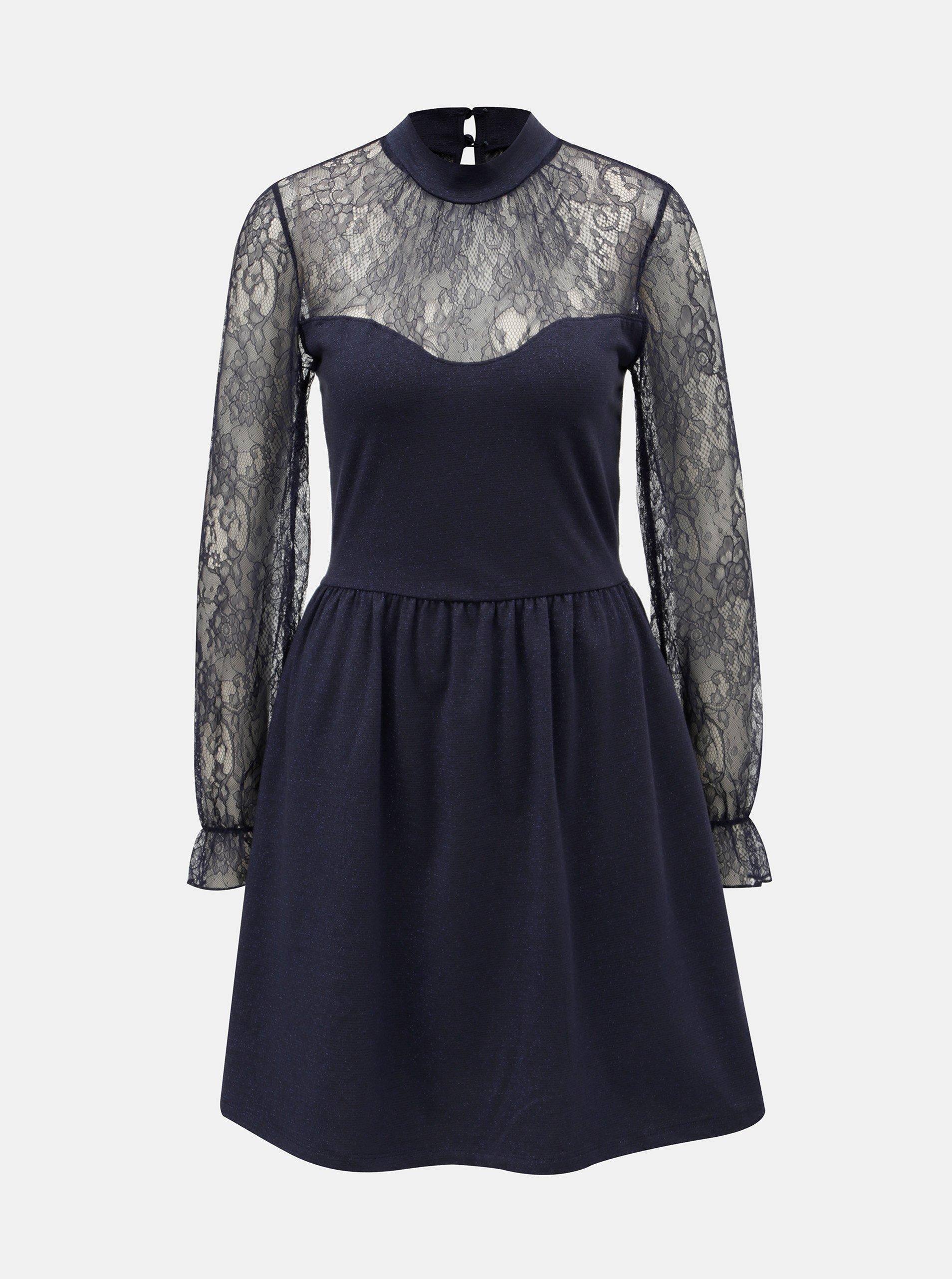 1213291cbfe4 Tmavě modré šaty s krajkou ONLY Lucca