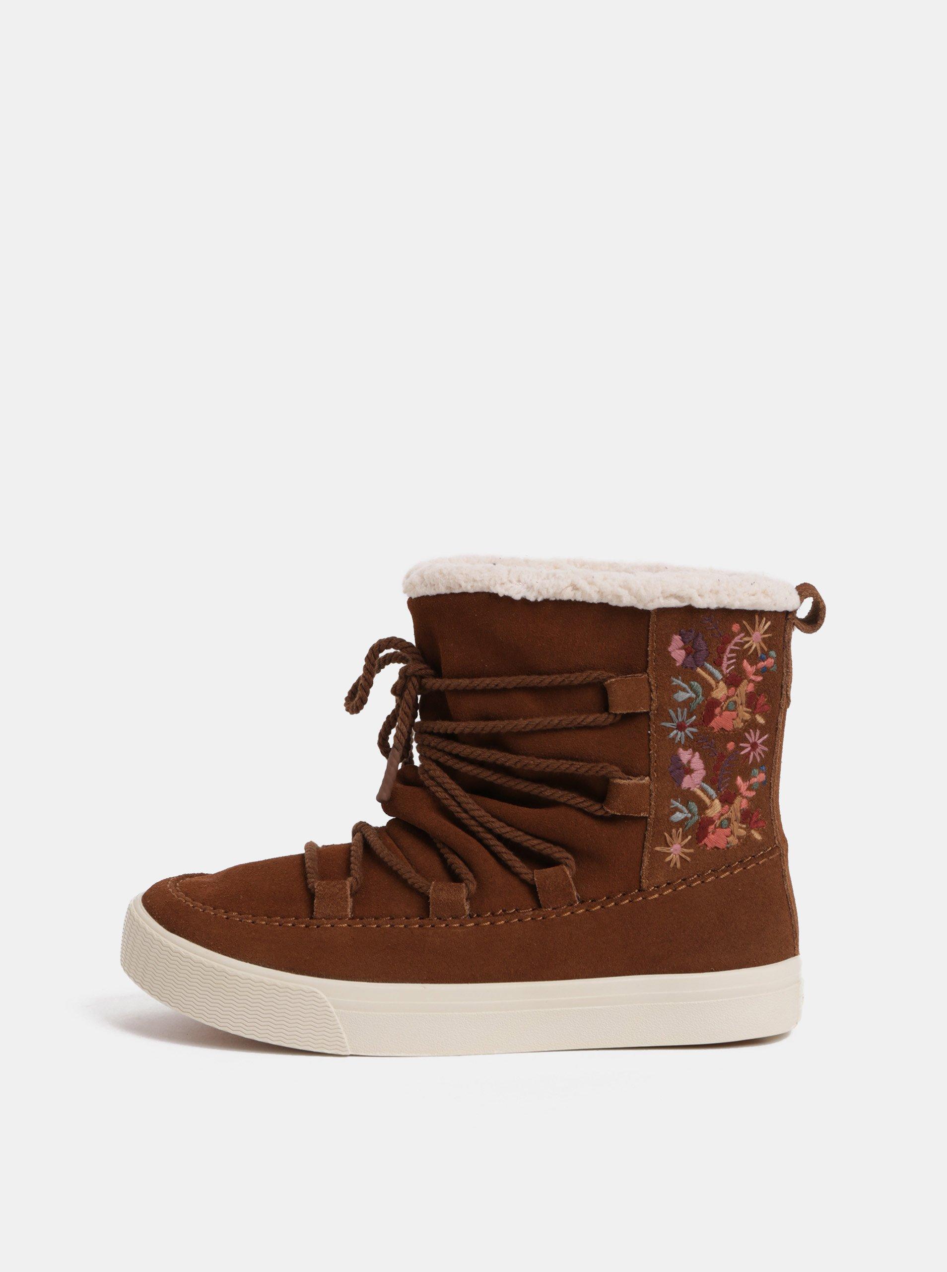 3dd633a6c4a Hnědé dámské semišové zimní kotníkové boty s výšivkou TOMS Alpin